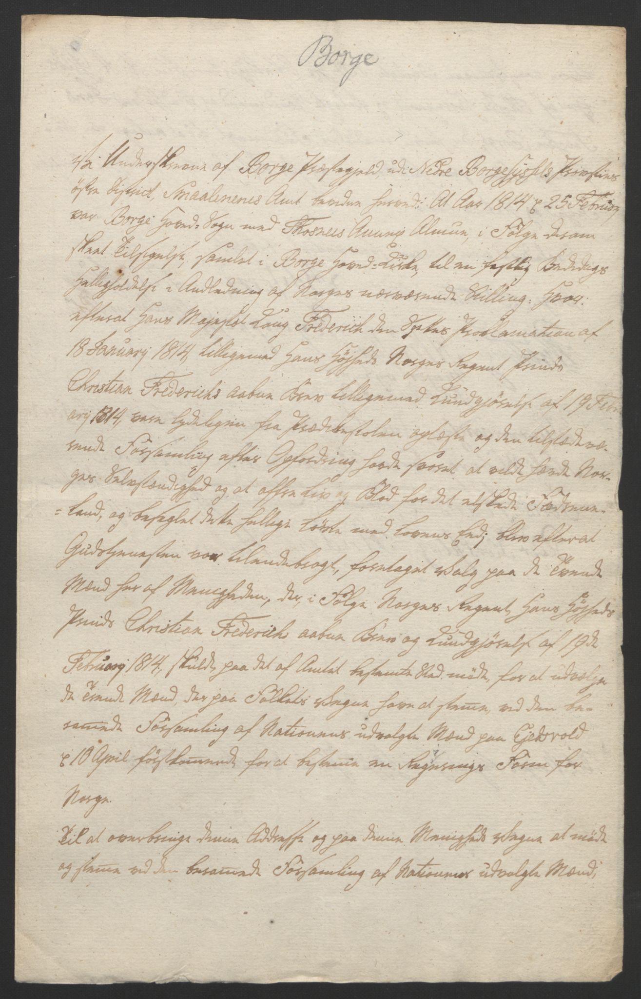 RA, Statsrådssekretariatet, D/Db/L0007: Fullmakter for Eidsvollsrepresentantene i 1814. , 1814, s. 143