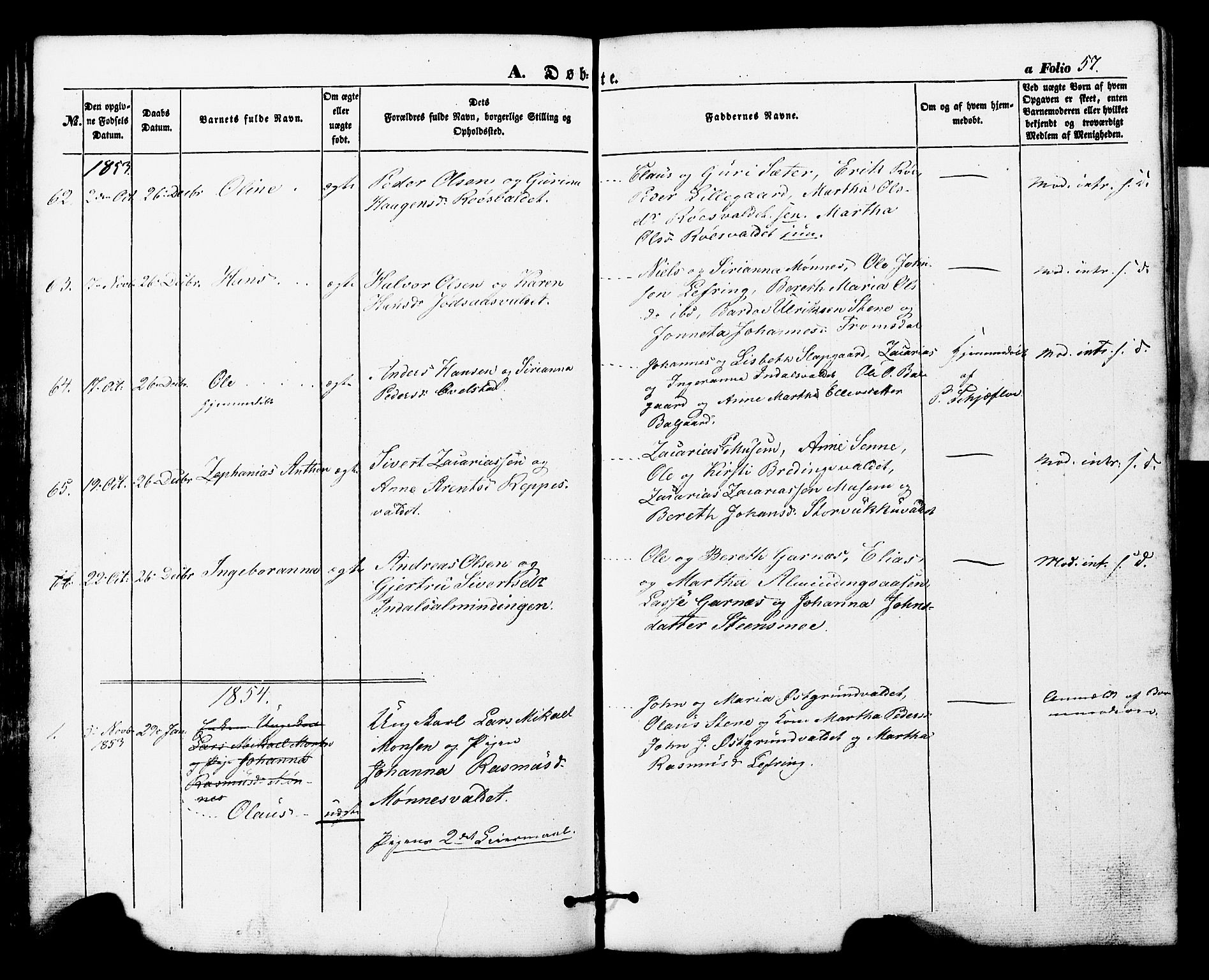 SAT, Ministerialprotokoller, klokkerbøker og fødselsregistre - Nord-Trøndelag, 724/L0268: Klokkerbok nr. 724C04, 1846-1878, s. 57