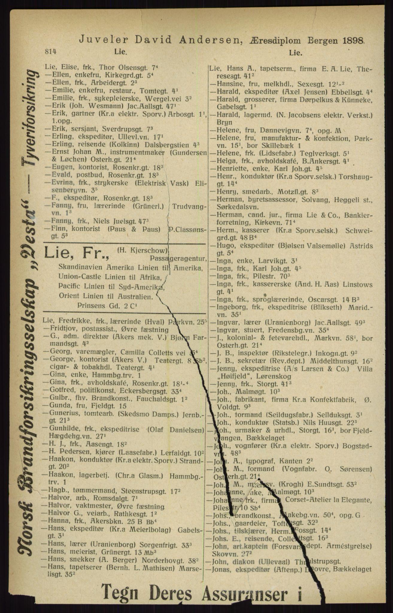 RA, Kristiania adressebok (publikasjon)*, 1916, s. 814