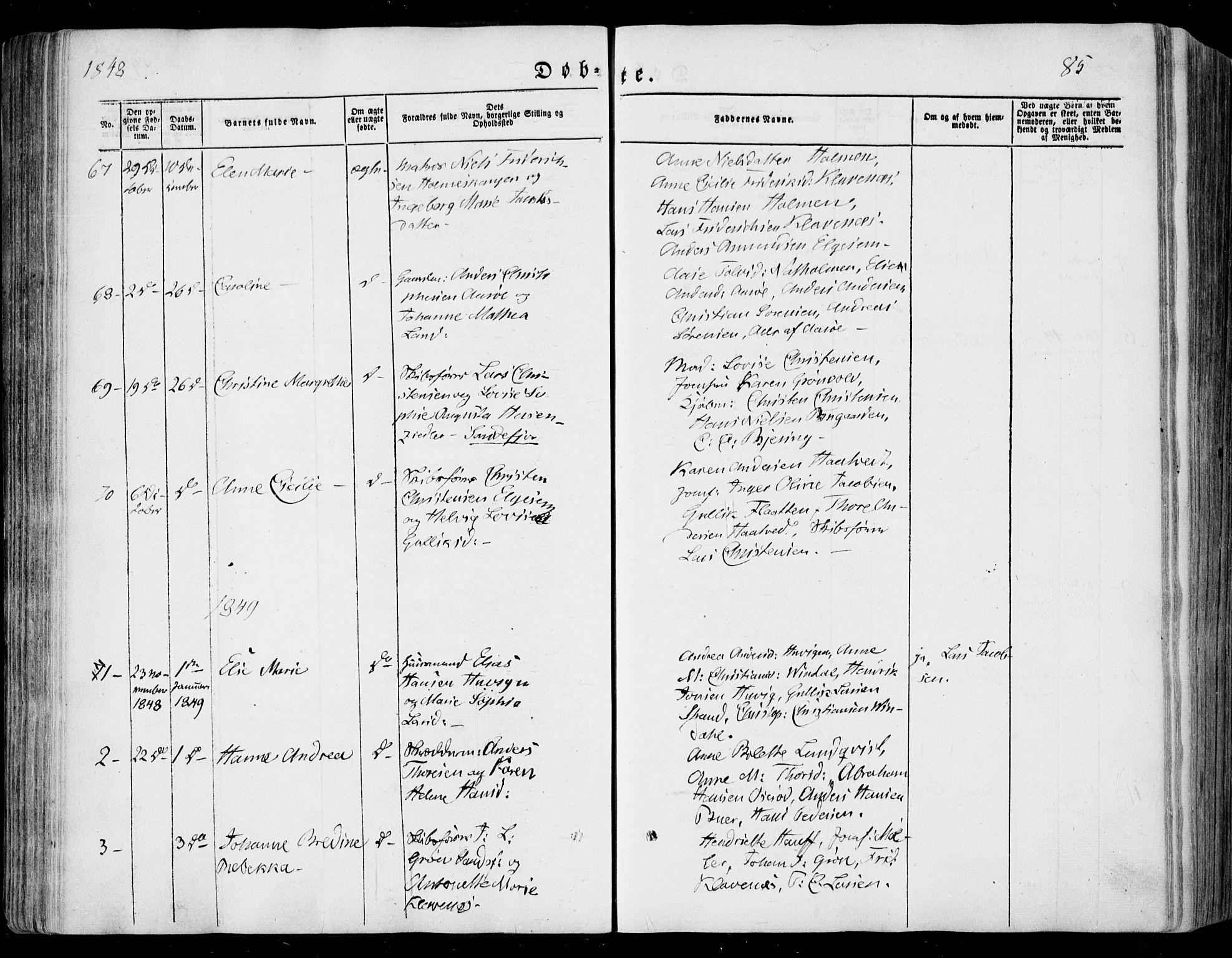 SAKO, Sandar kirkebøker, F/Fa/L0006: Ministerialbok nr. 6, 1847-1860, s. 85