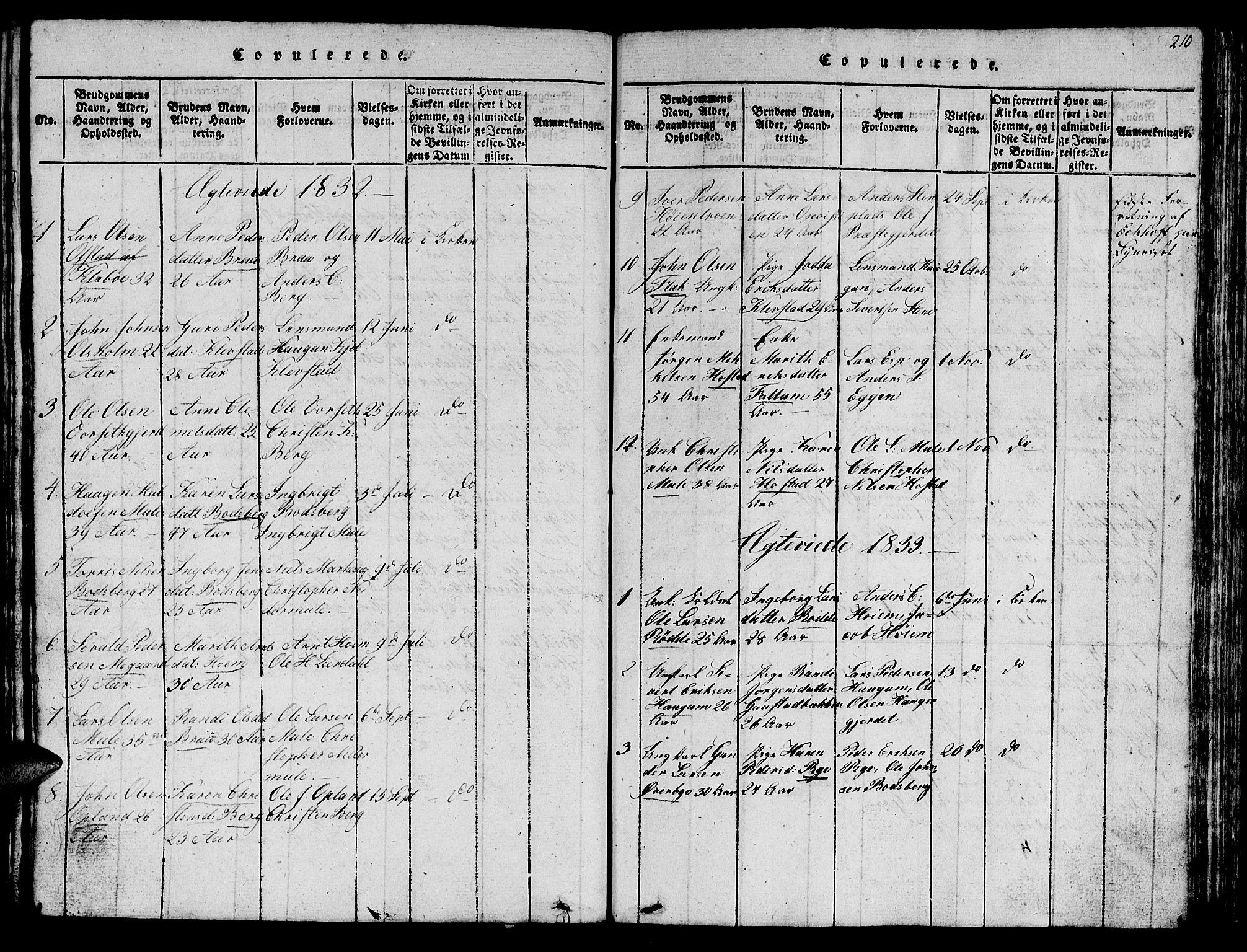 SAT, Ministerialprotokoller, klokkerbøker og fødselsregistre - Sør-Trøndelag, 612/L0385: Klokkerbok nr. 612C01, 1816-1845, s. 210