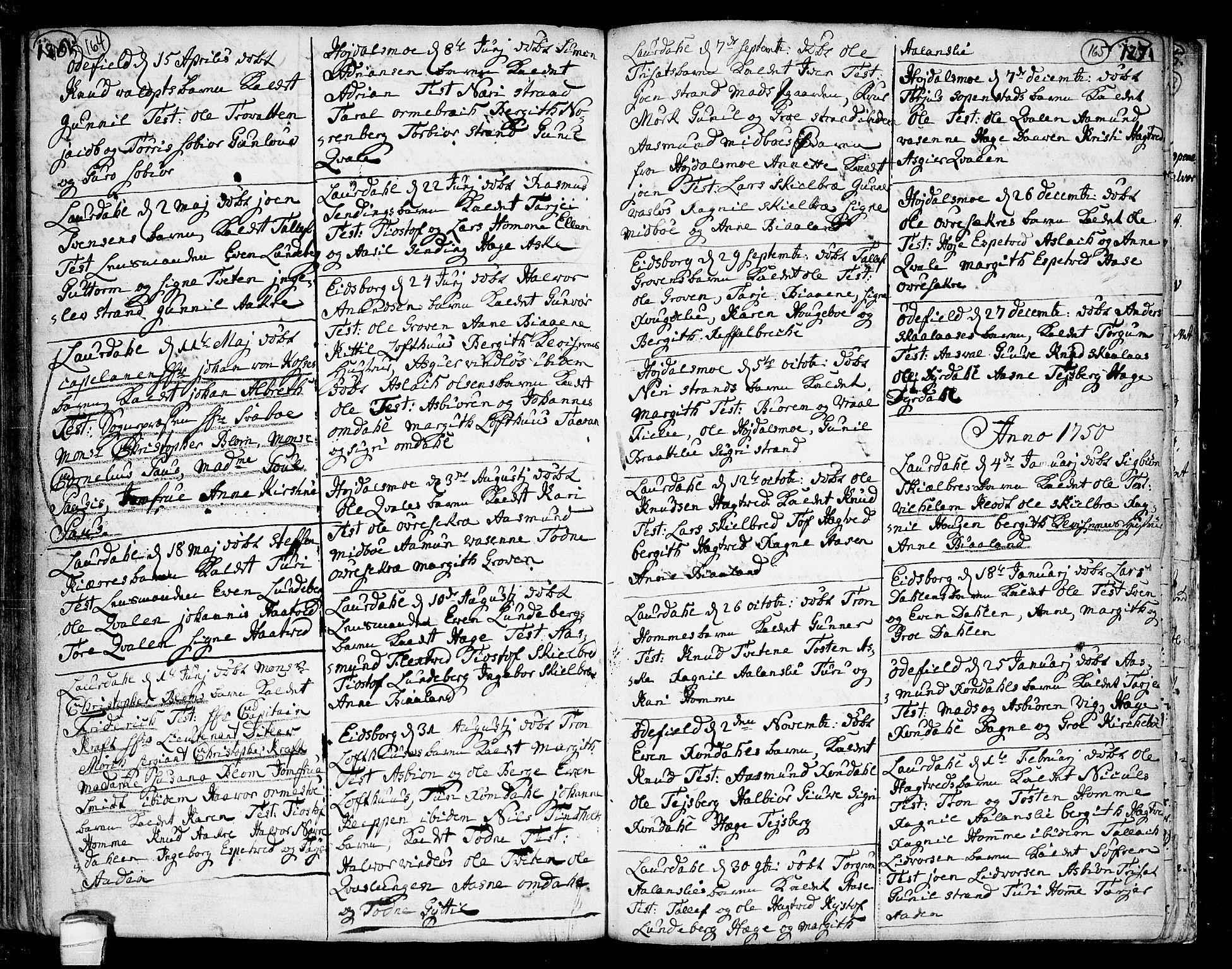 SAKO, Lårdal kirkebøker, F/Fa/L0002: Ministerialbok nr. I 2, 1734-1754, s. 164-165