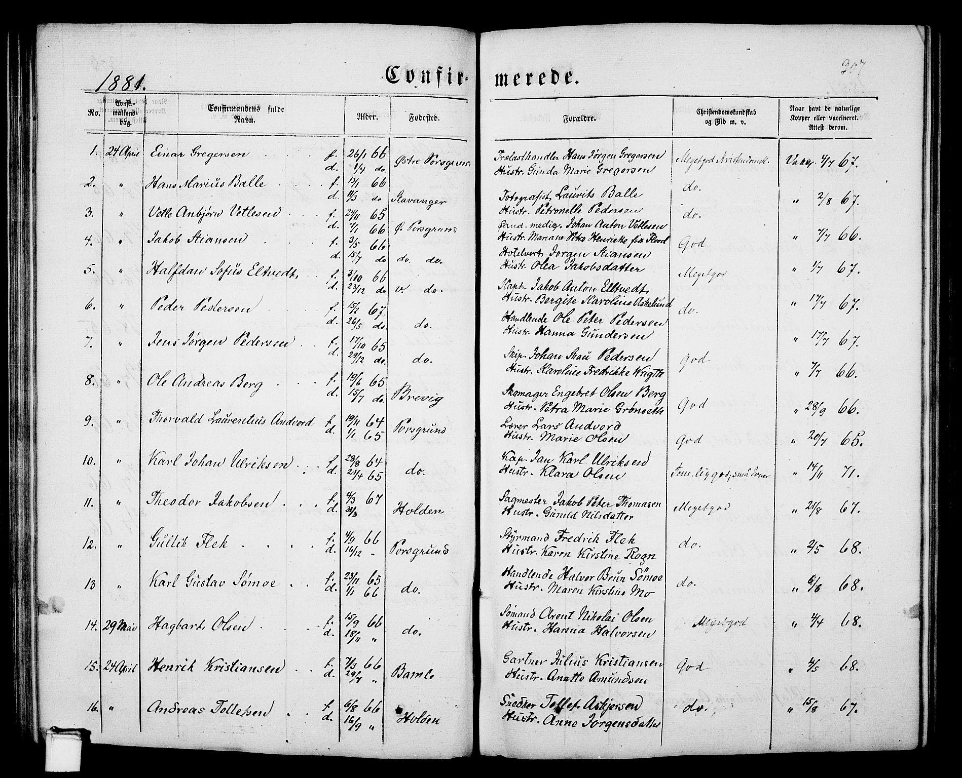 SAKO, Porsgrunn kirkebøker , G/Gb/L0004: Klokkerbok nr. II 4, 1853-1882, s. 307