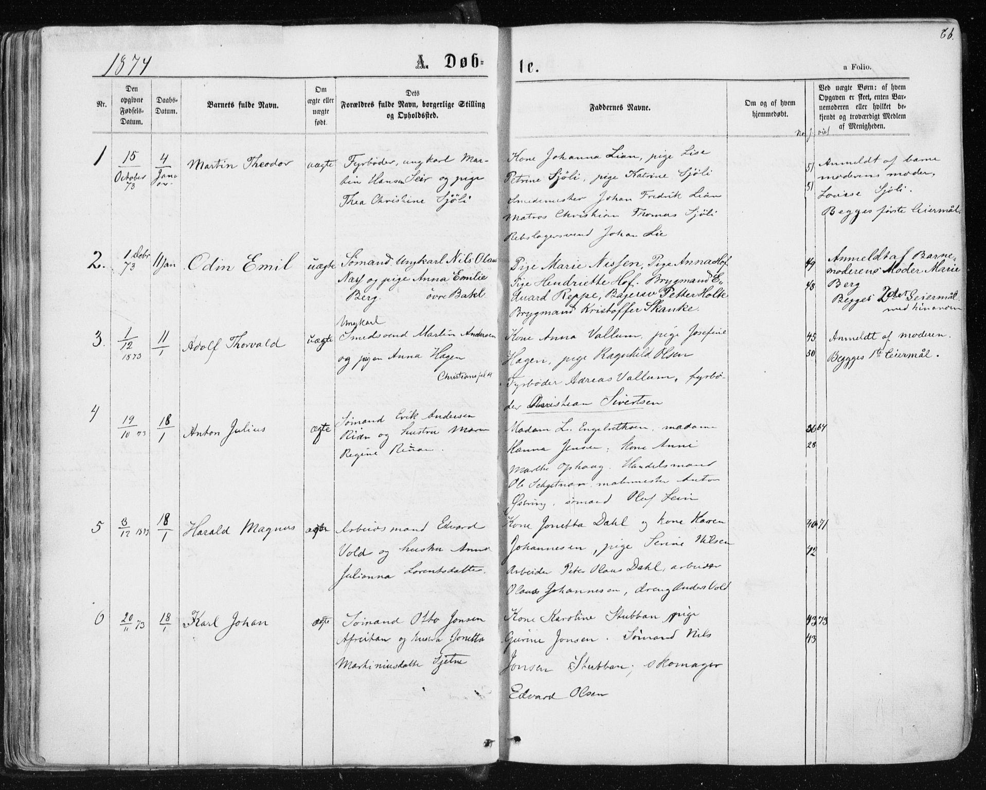 SAT, Ministerialprotokoller, klokkerbøker og fødselsregistre - Sør-Trøndelag, 604/L0186: Ministerialbok nr. 604A07, 1866-1877, s. 66