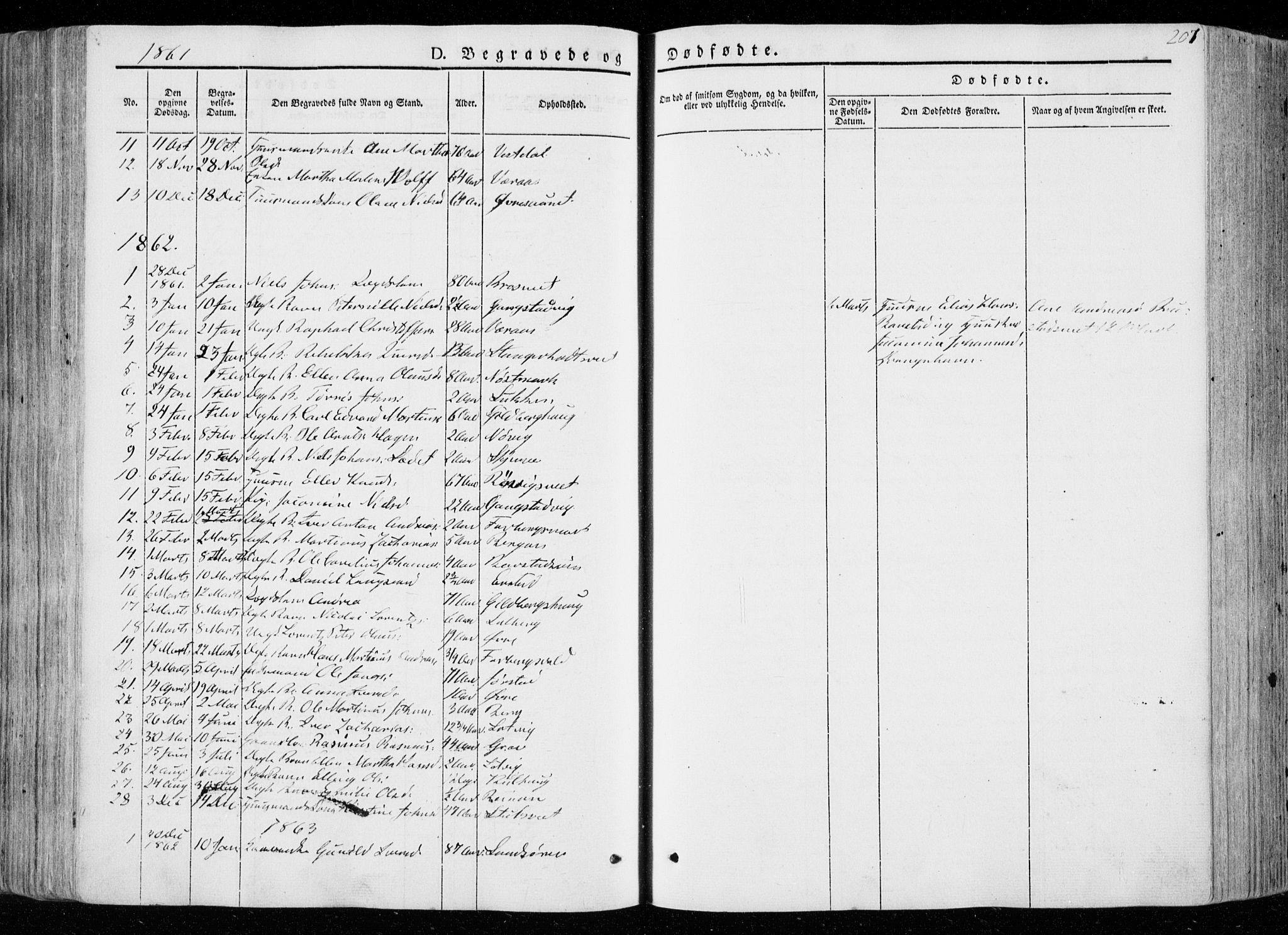 SAT, Ministerialprotokoller, klokkerbøker og fødselsregistre - Nord-Trøndelag, 722/L0218: Ministerialbok nr. 722A05, 1843-1868, s. 207