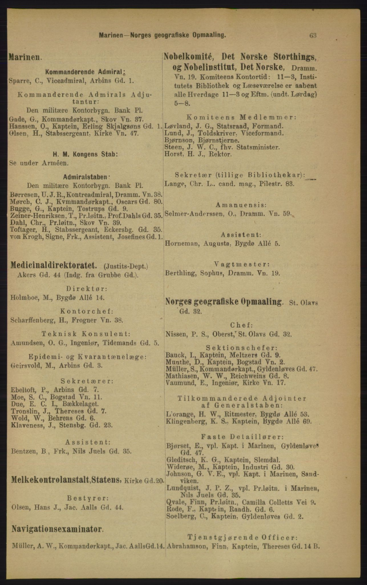 RA, Kristiania adressebok (publikasjon)*, 1906, s. 63