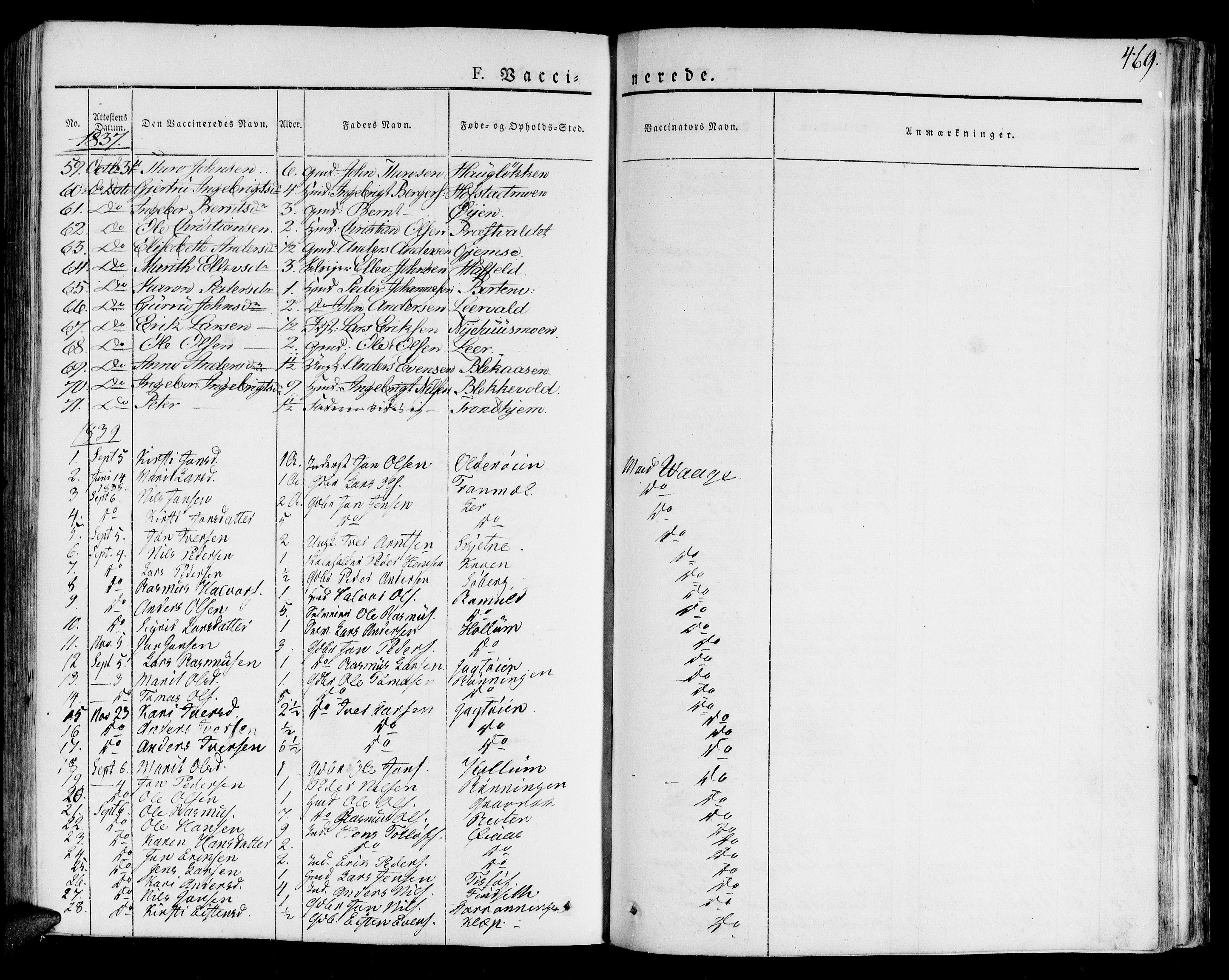 SAT, Ministerialprotokoller, klokkerbøker og fødselsregistre - Sør-Trøndelag, 691/L1070: Ministerialbok nr. 691A05 /1, 1826-1841, s. 469