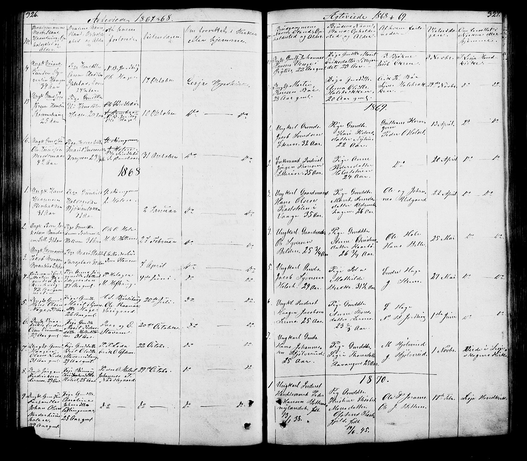 SAH, Lesja prestekontor, Klokkerbok nr. 5, 1850-1894, s. 326-327