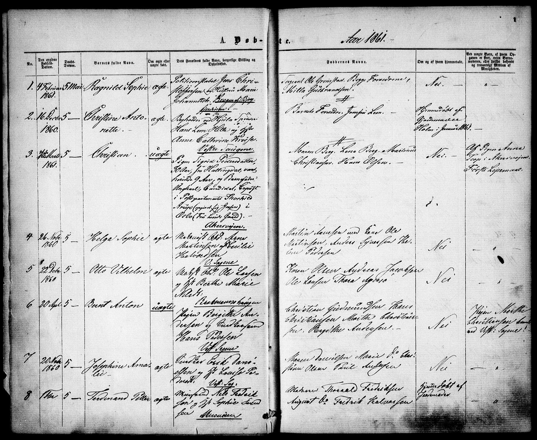 SAO, Gamle Aker prestekontor Kirkebøker, F/L0001: Ministerialbok nr. 1, 1861-1865, s. 1