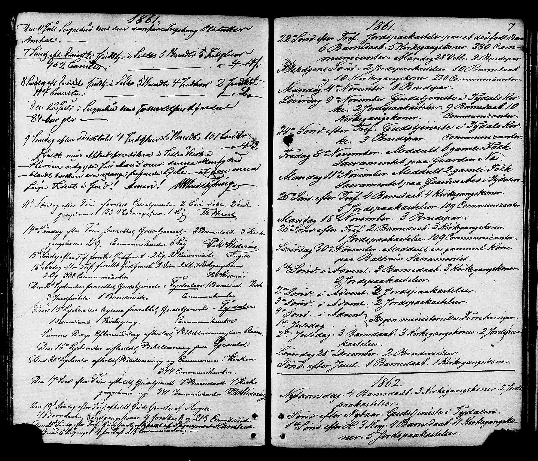 SAT, Ministerialprotokoller, klokkerbøker og fødselsregistre - Sør-Trøndelag, 695/L1147: Ministerialbok nr. 695A07, 1860-1877, s. 7
