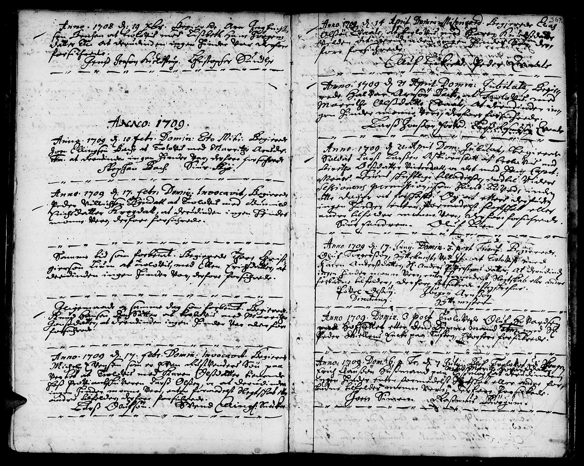SAT, Ministerialprotokoller, klokkerbøker og fødselsregistre - Sør-Trøndelag, 668/L0801: Ministerialbok nr. 668A01, 1695-1716, s. 366-367