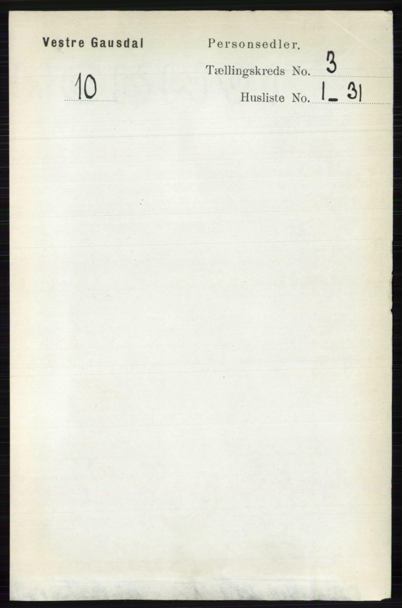 RA, Folketelling 1891 for 0523 Vestre Gausdal herred, 1891, s. 1253