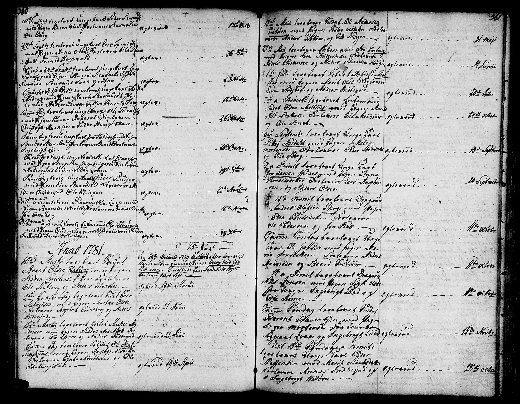 SAT, Ministerialprotokoller, klokkerbøker og fødselsregistre - Nord-Trøndelag, 746/L0440: Ministerialbok nr. 746A02, 1760-1815, s. 360-361