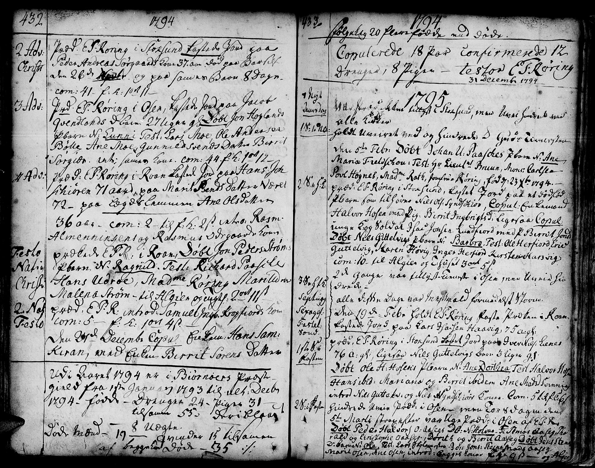 SAT, Ministerialprotokoller, klokkerbøker og fødselsregistre - Sør-Trøndelag, 657/L0700: Ministerialbok nr. 657A01, 1732-1801, s. 432-433