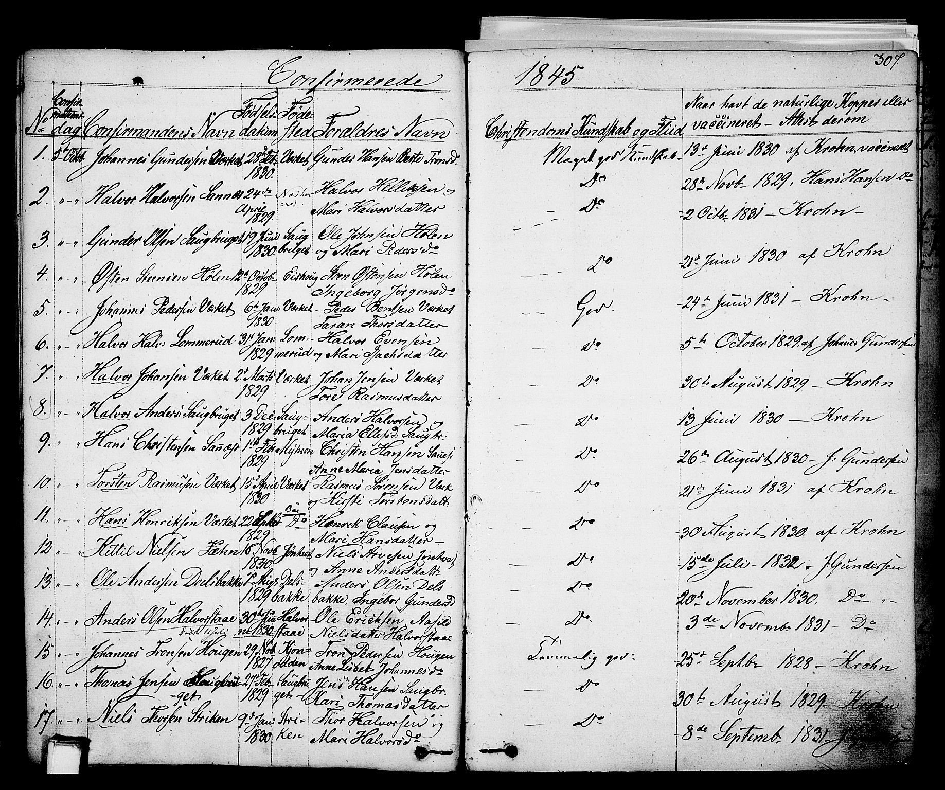 SAKO, Holla kirkebøker, F/Fa/L0004: Ministerialbok nr. 4, 1830-1848, s. 307