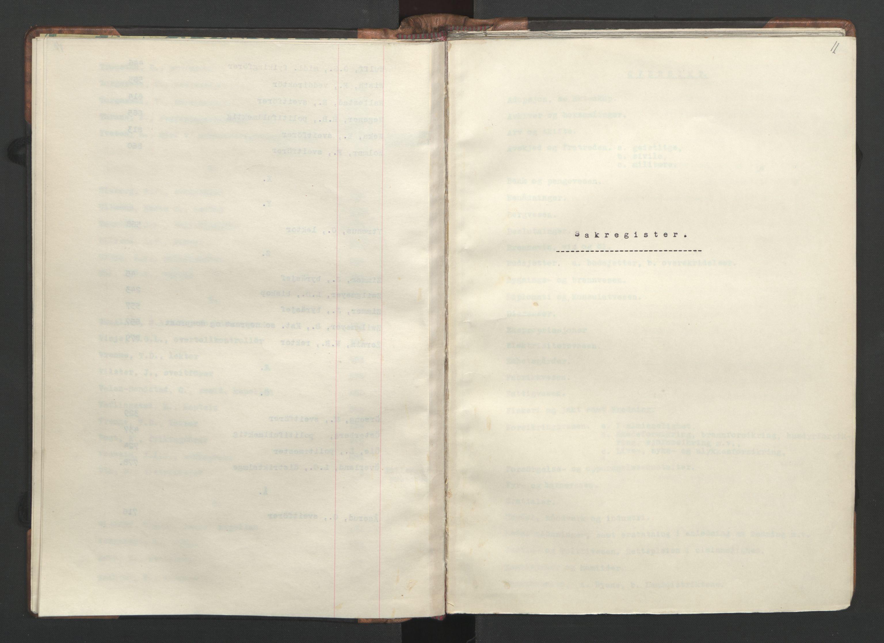 RA, NS-administrasjonen 1940-1945 (Statsrådsekretariatet, de kommisariske statsråder mm), D/Da/L0002: Register (RA j.nr. 985/1943, tilgangsnr. 17/1943), 1942, s. 10b-11a