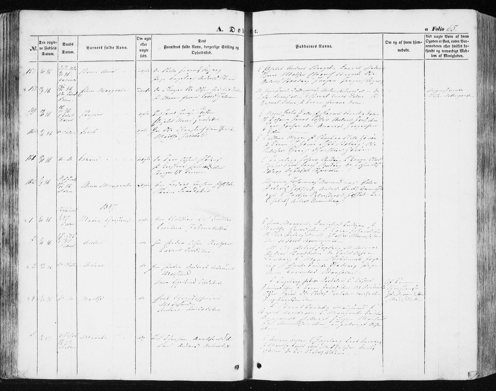 SAT, Ministerialprotokoller, klokkerbøker og fødselsregistre - Sør-Trøndelag, 634/L0529: Ministerialbok nr. 634A05, 1843-1851, s. 65