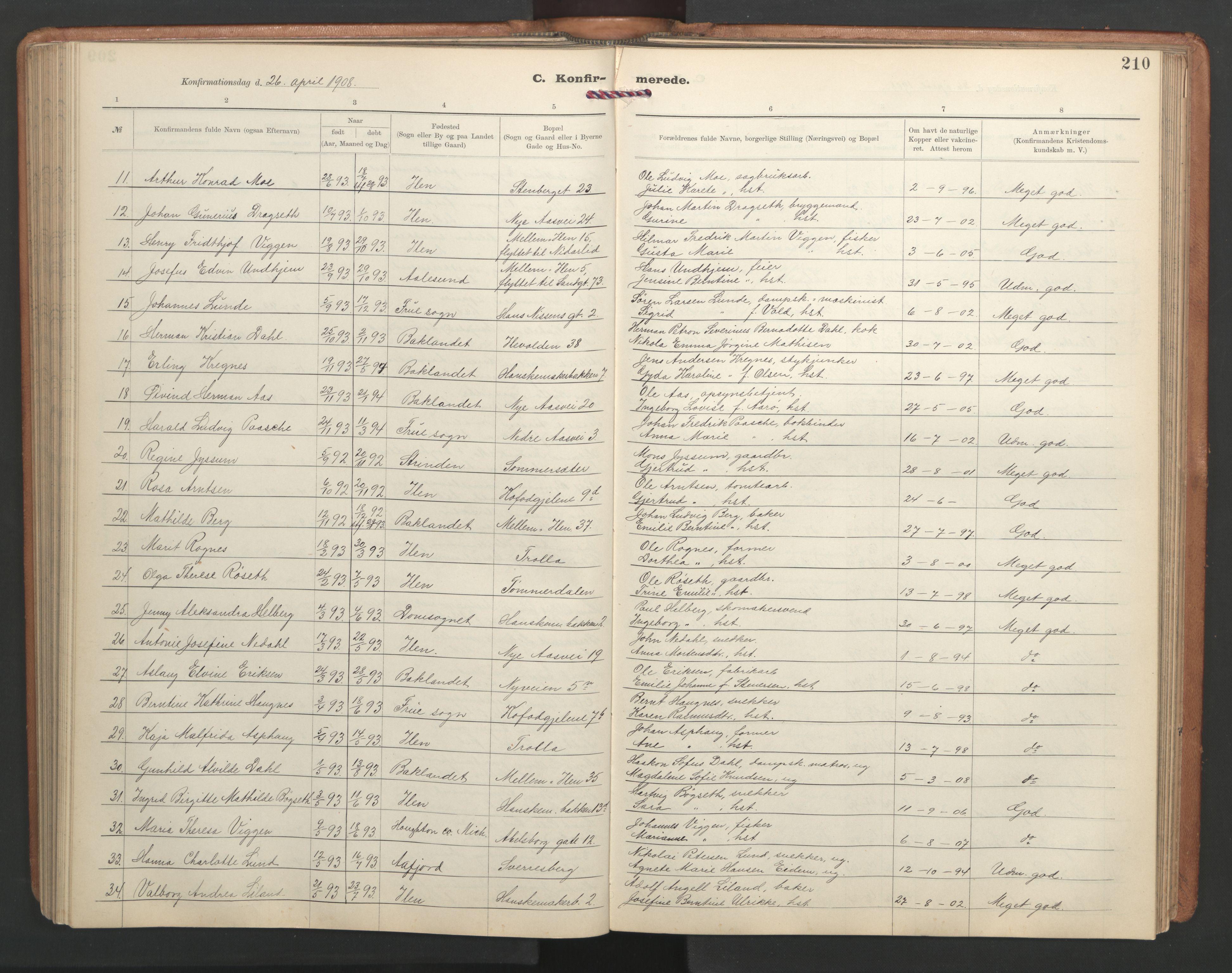 SAT, Ministerialprotokoller, klokkerbøker og fødselsregistre - Sør-Trøndelag, 603/L0173: Klokkerbok nr. 603C01, 1907-1962, s. 210