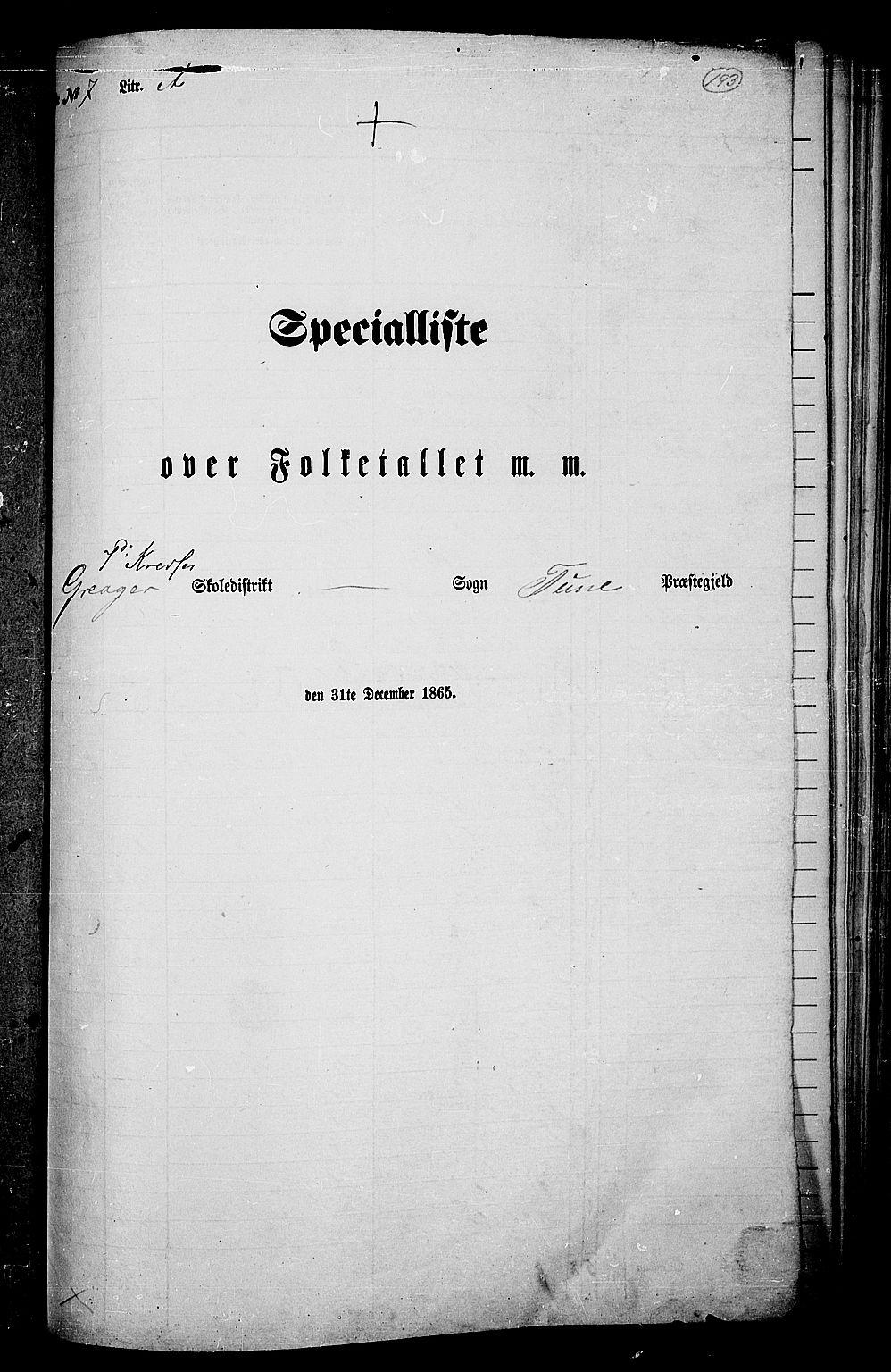 RA, Folketelling 1865 for 0130P Tune prestegjeld, 1865, s. 174