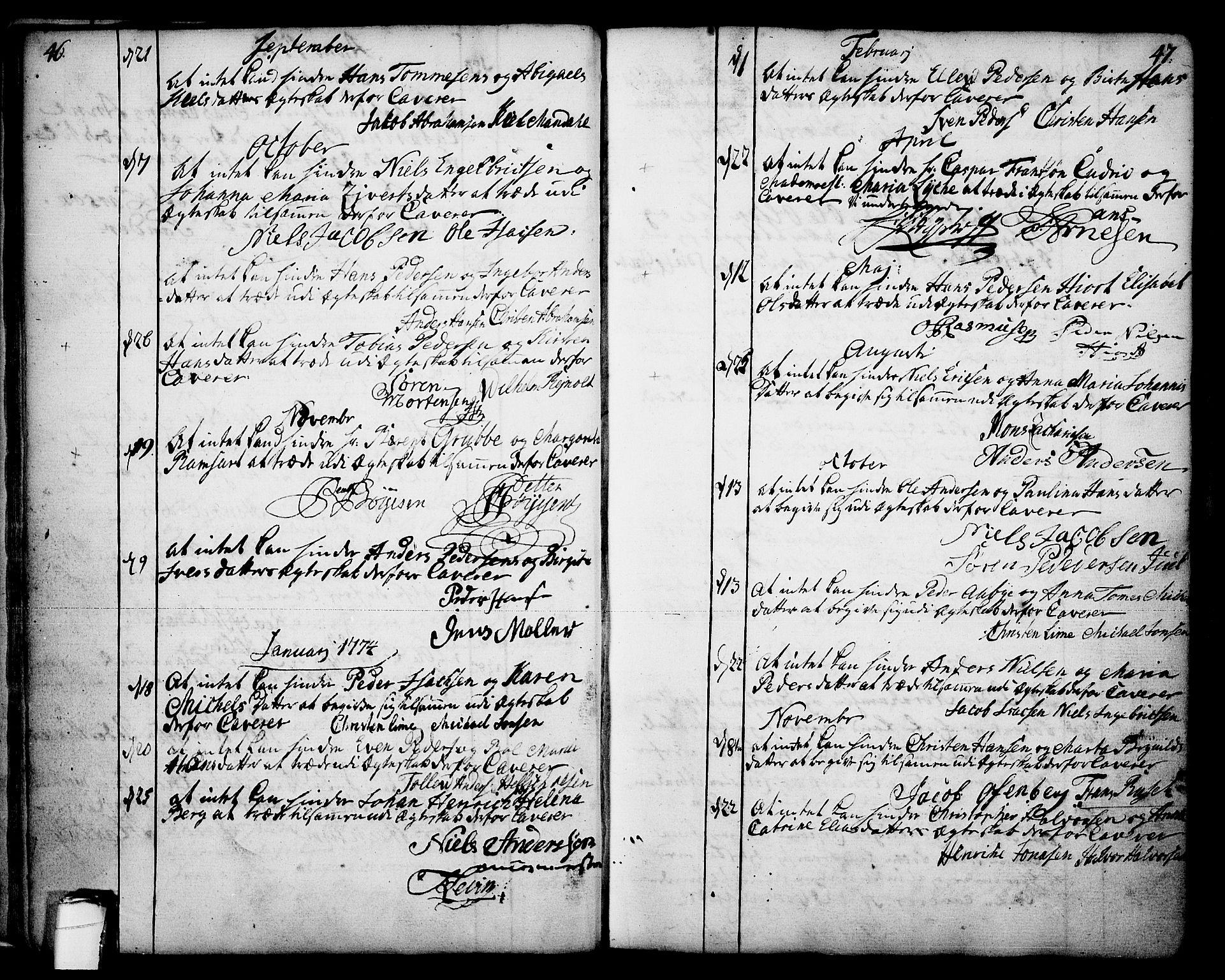 SAKO, Skien kirkebøker, F/Fa/L0003: Ministerialbok nr. 3, 1755-1791, s. 46-47