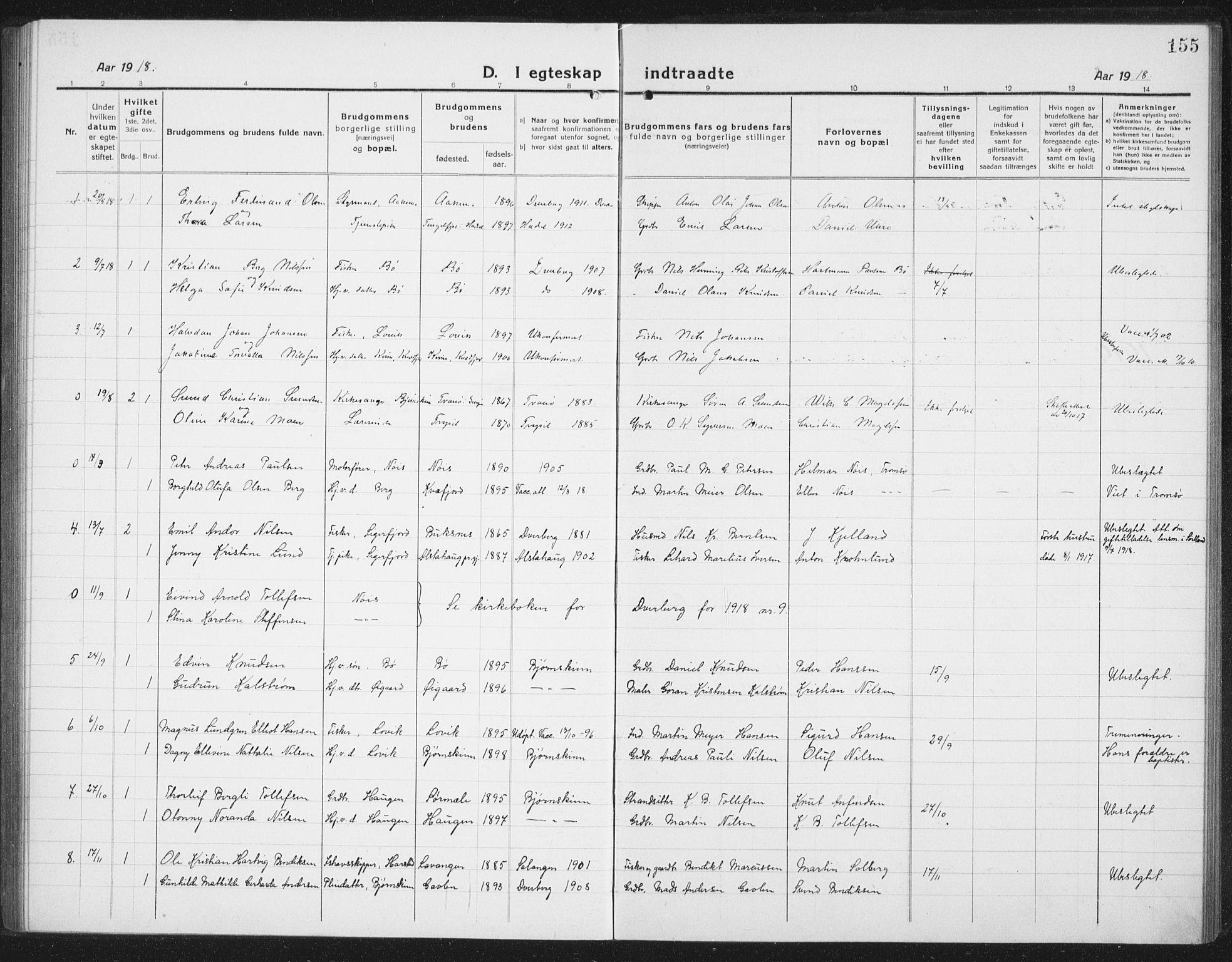 SAT, Ministerialprotokoller, klokkerbøker og fødselsregistre - Nordland, 898/L1428: Klokkerbok nr. 898C03, 1918-1938, s. 155