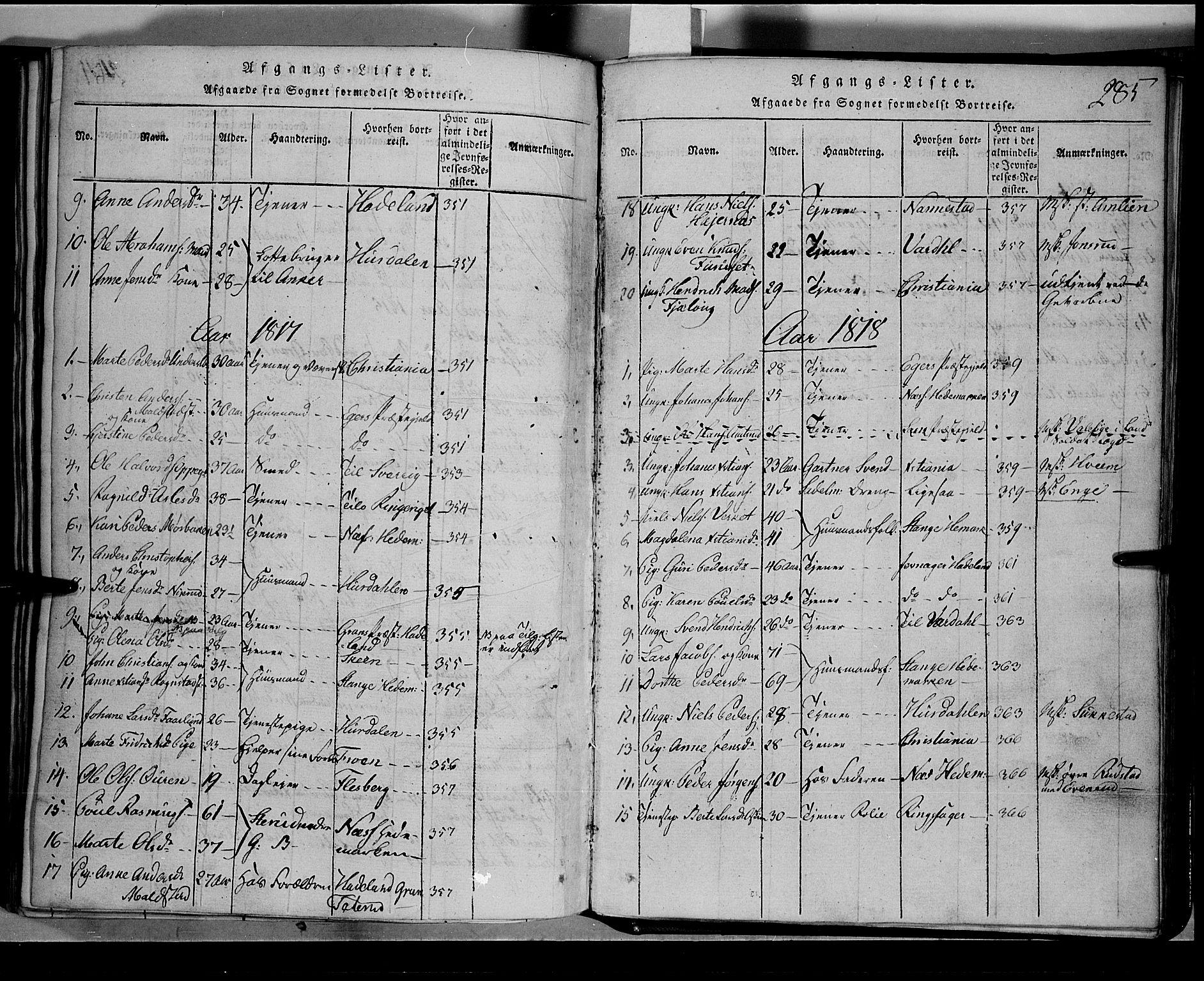 SAH, Toten prestekontor, Klokkerbok nr. 1, 1814-1820, s. 285