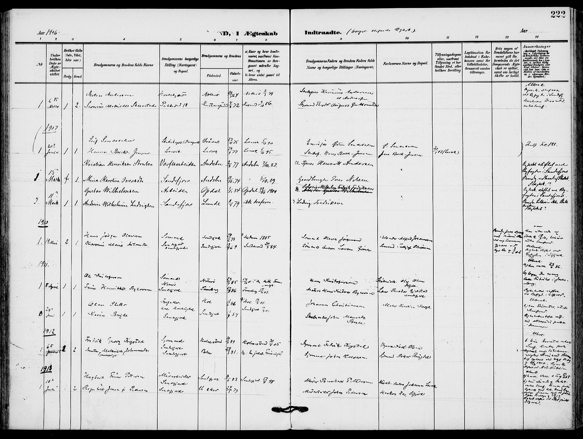 SAKO, Sandefjord kirkebøker, F/Fa/L0005: Ministerialbok nr. 5, 1906-1915, s. 222