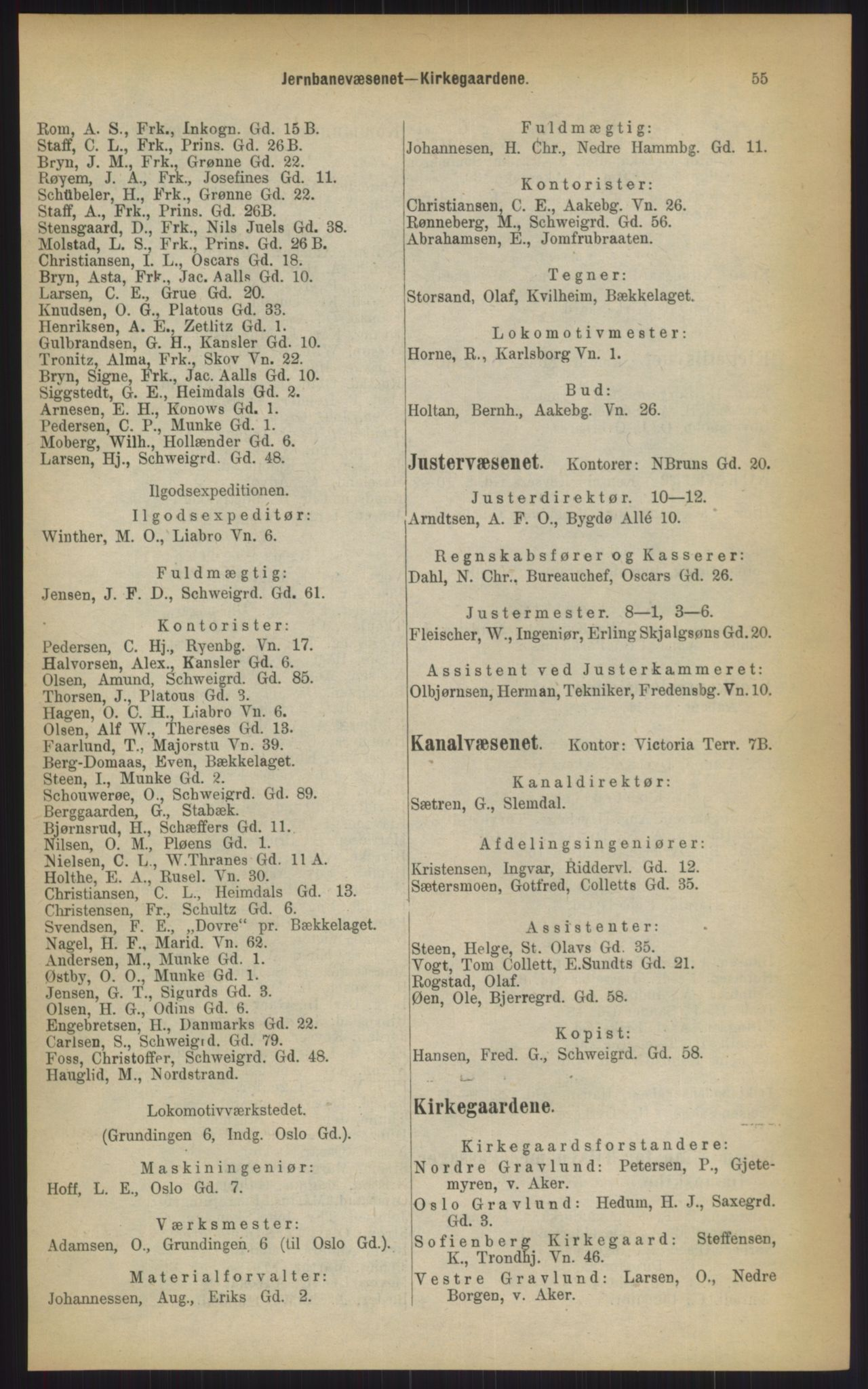 RA, Kristiania adressebok (publikasjon)*, 1903, s. 55