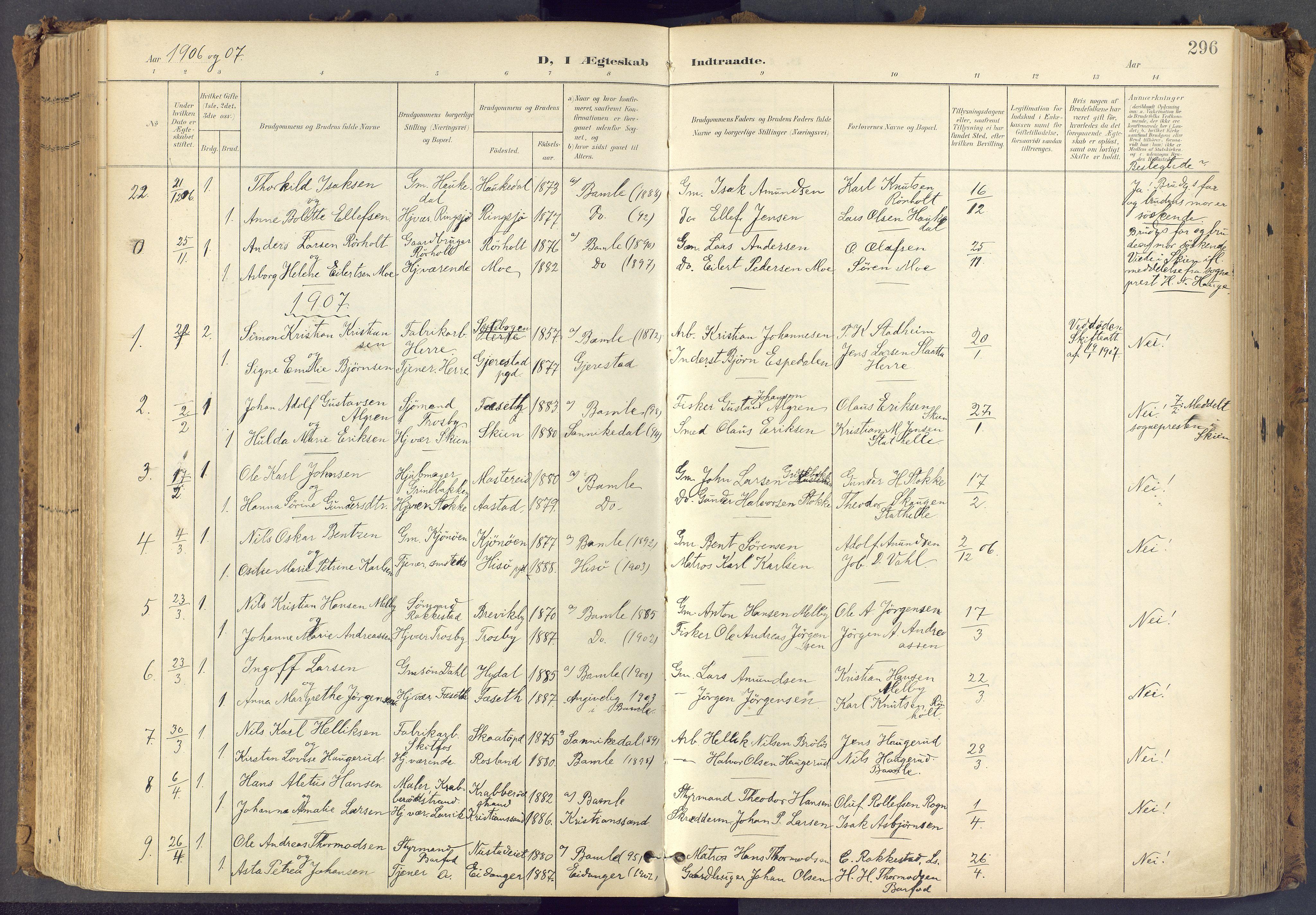 SAKO, Bamble kirkebøker, F/Fa/L0009: Ministerialbok nr. I 9, 1901-1917, s. 296