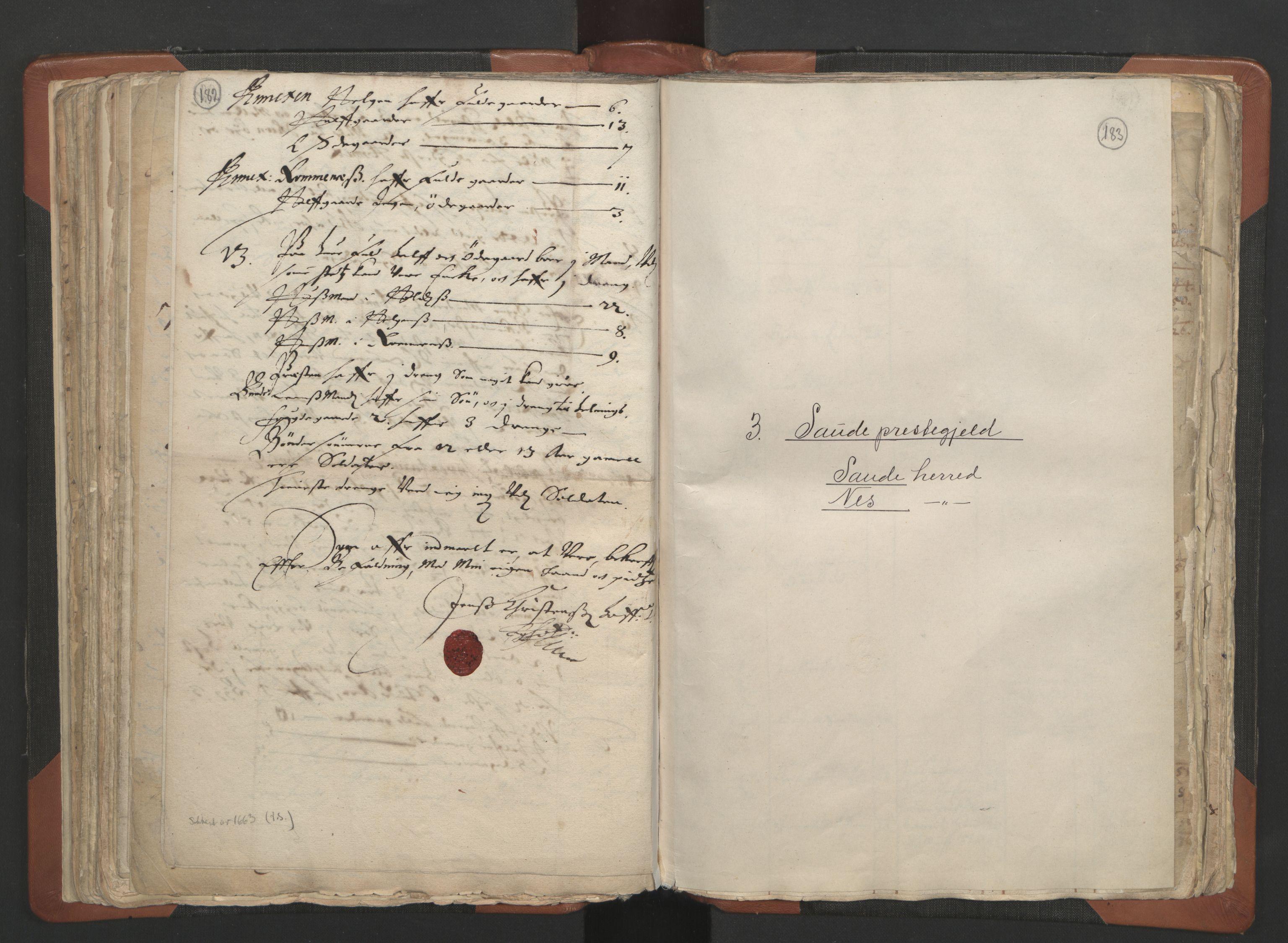 RA, Sogneprestenes manntall 1664-1666, nr. 12: Øvre Telemark prosti, Nedre Telemark prosti og Bamble prosti, 1664-1666, s. 182-183