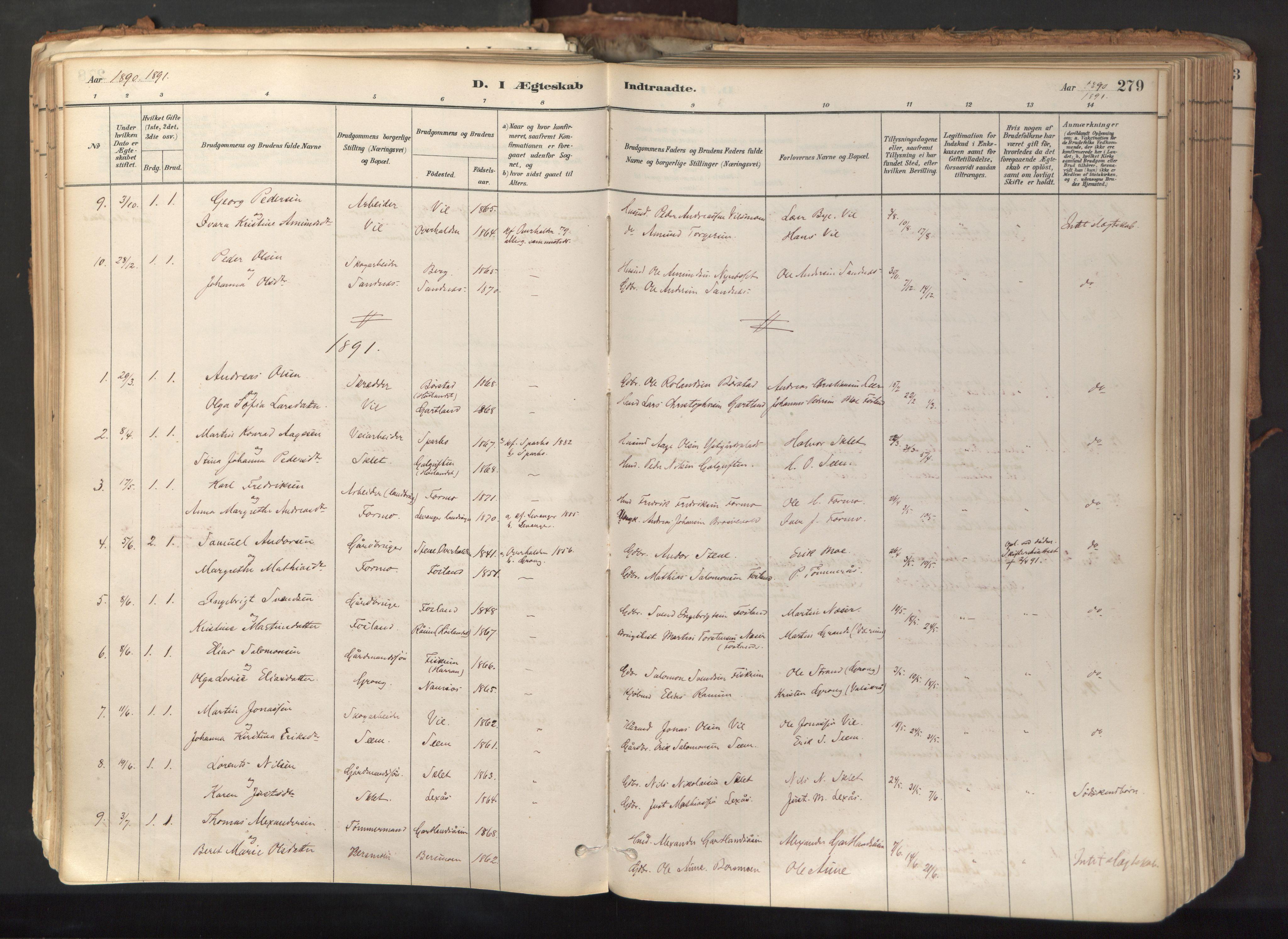 SAT, Ministerialprotokoller, klokkerbøker og fødselsregistre - Nord-Trøndelag, 758/L0519: Ministerialbok nr. 758A04, 1880-1926, s. 279
