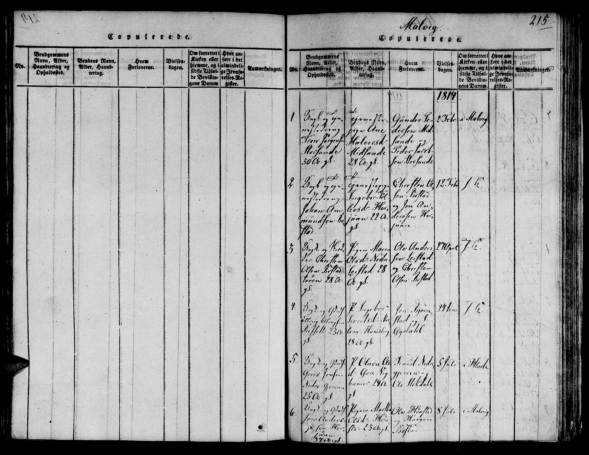 SAT, Ministerialprotokoller, klokkerbøker og fødselsregistre - Sør-Trøndelag, 606/L0284: Ministerialbok nr. 606A03 /2, 1819-1823, s. 215