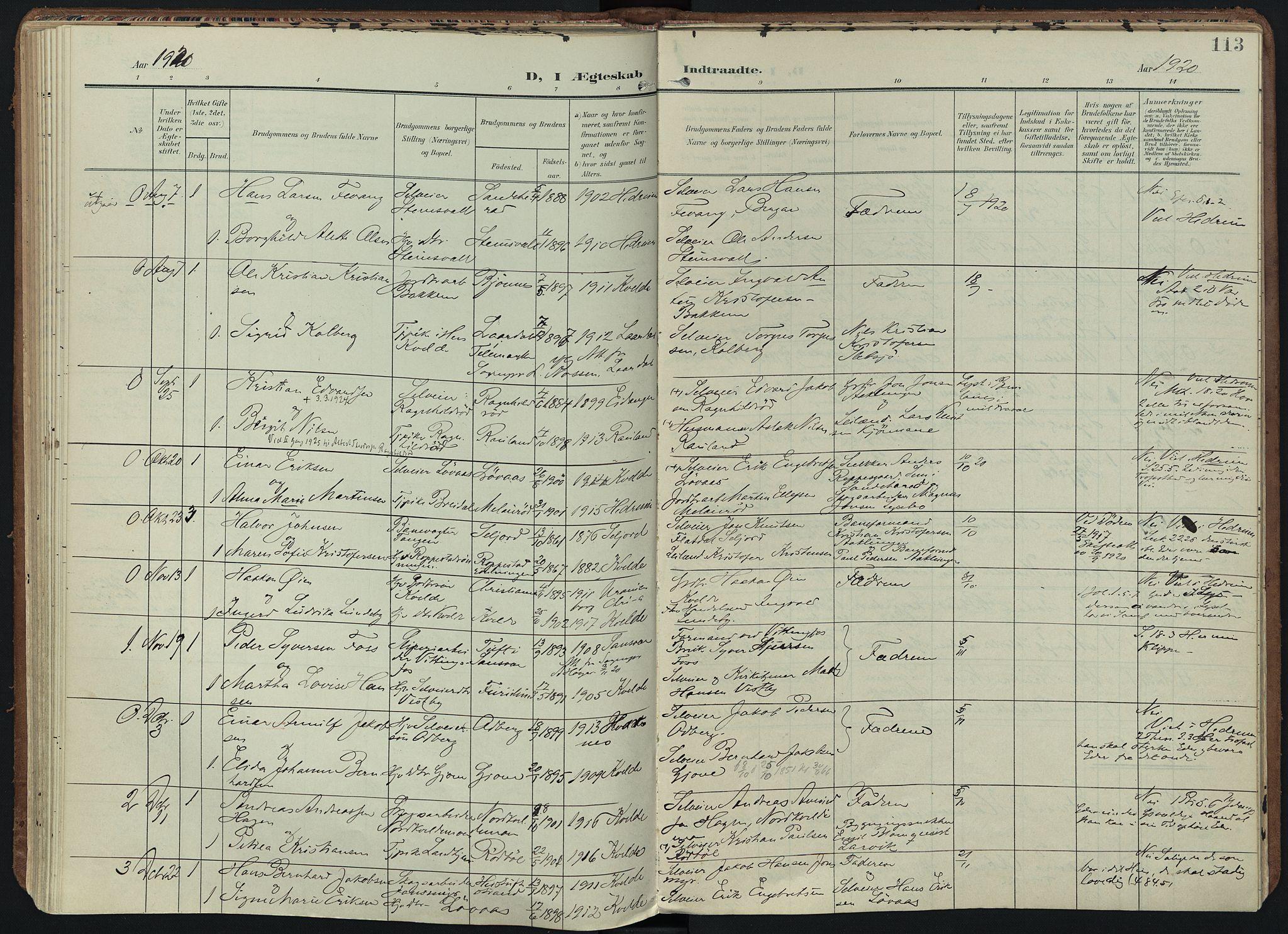 SAKO, Hedrum kirkebøker, F/Fb/L0002: Ministerialbok nr. II 2, 1906-1924, s. 113