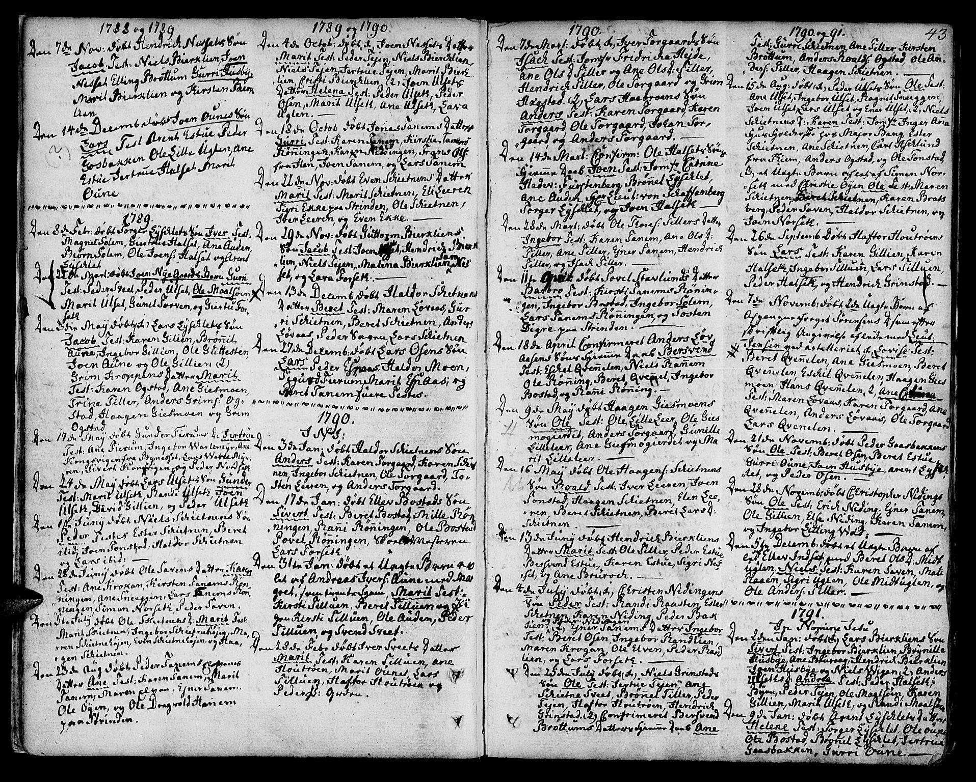 SAT, Ministerialprotokoller, klokkerbøker og fødselsregistre - Sør-Trøndelag, 618/L0438: Ministerialbok nr. 618A03, 1783-1815, s. 43