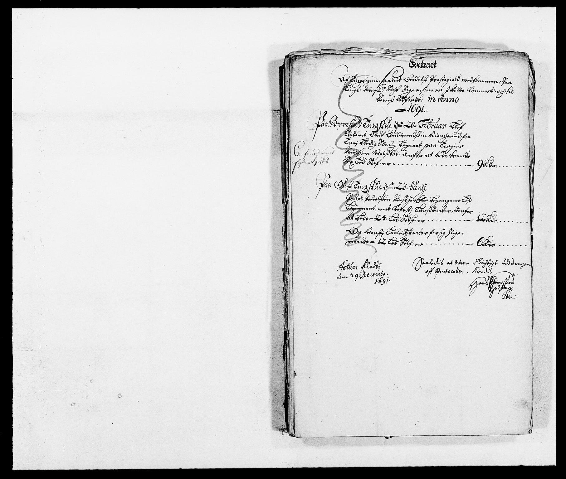 RA, Rentekammeret inntil 1814, Reviderte regnskaper, Fogderegnskap, R13/L0829: Fogderegnskap Solør, Odal og Østerdal, 1691, s. 273