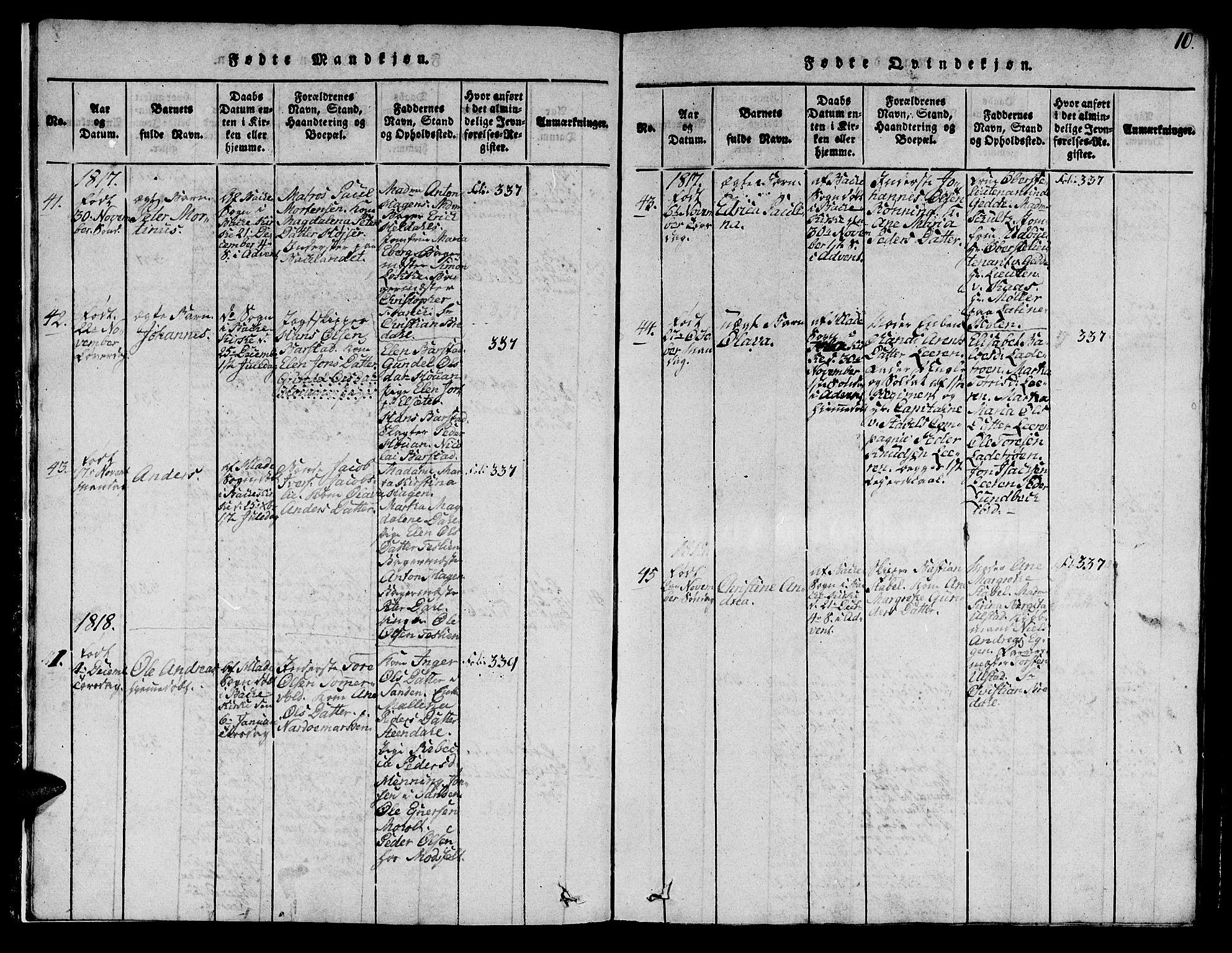 SAT, Ministerialprotokoller, klokkerbøker og fødselsregistre - Sør-Trøndelag, 606/L0307: Klokkerbok nr. 606C03, 1817-1824, s. 10