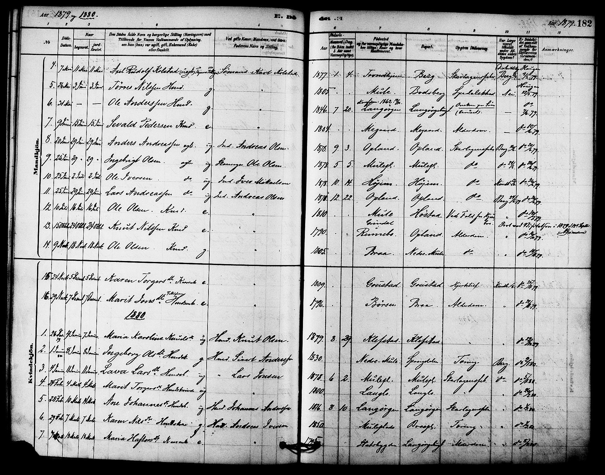 SAT, Ministerialprotokoller, klokkerbøker og fødselsregistre - Sør-Trøndelag, 612/L0378: Ministerialbok nr. 612A10, 1878-1897, s. 182