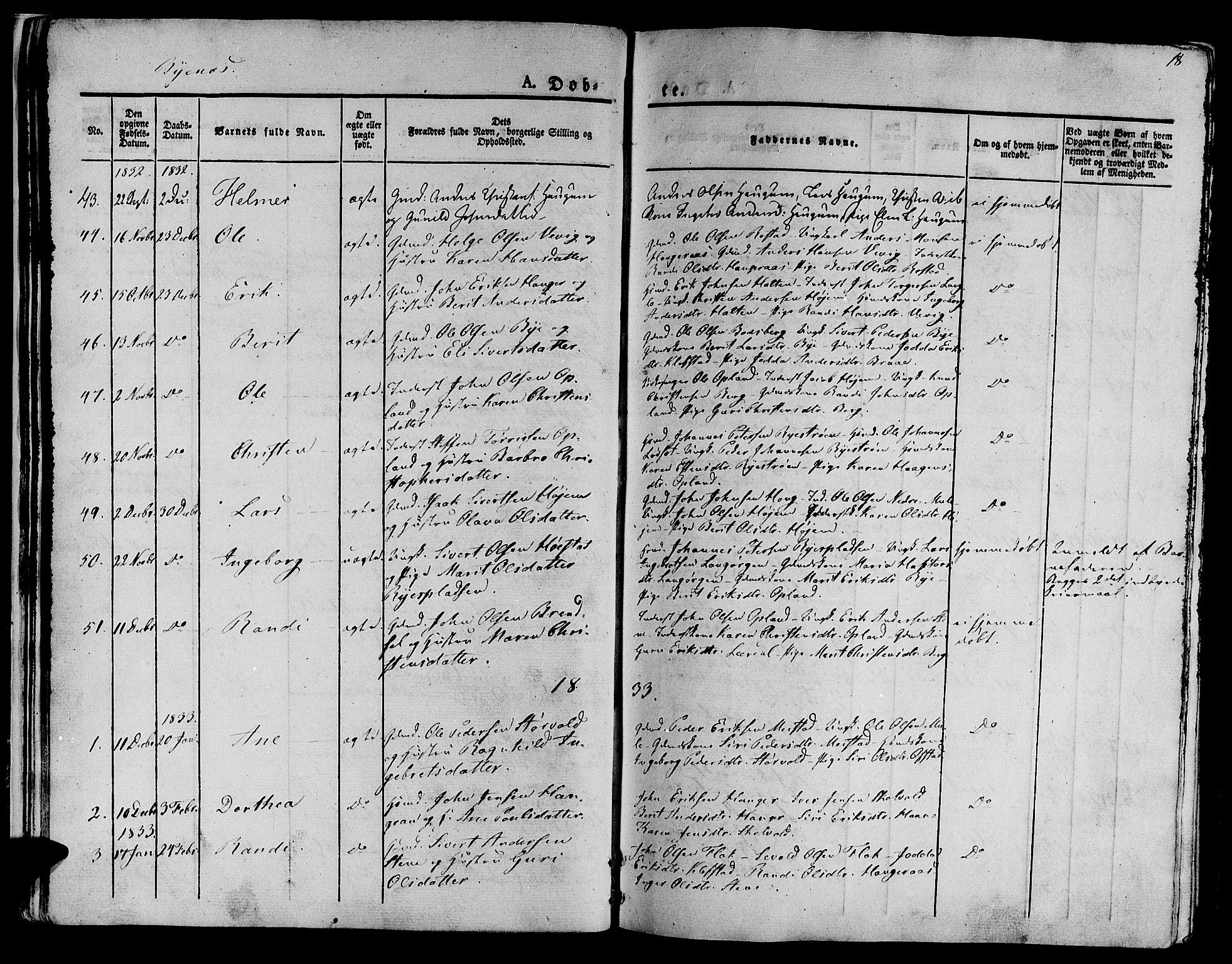 SAT, Ministerialprotokoller, klokkerbøker og fødselsregistre - Sør-Trøndelag, 612/L0374: Ministerialbok nr. 612A07 /1, 1829-1845, s. 18