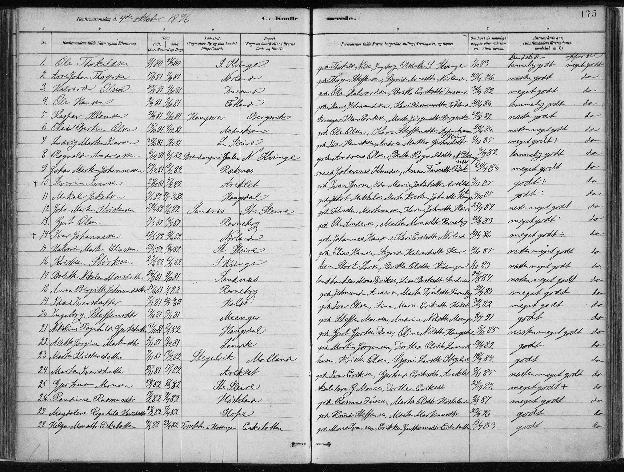 SAB, Masfjorden Soknepresembete, Ministerialbok nr. B  1, 1876-1899, s. 175