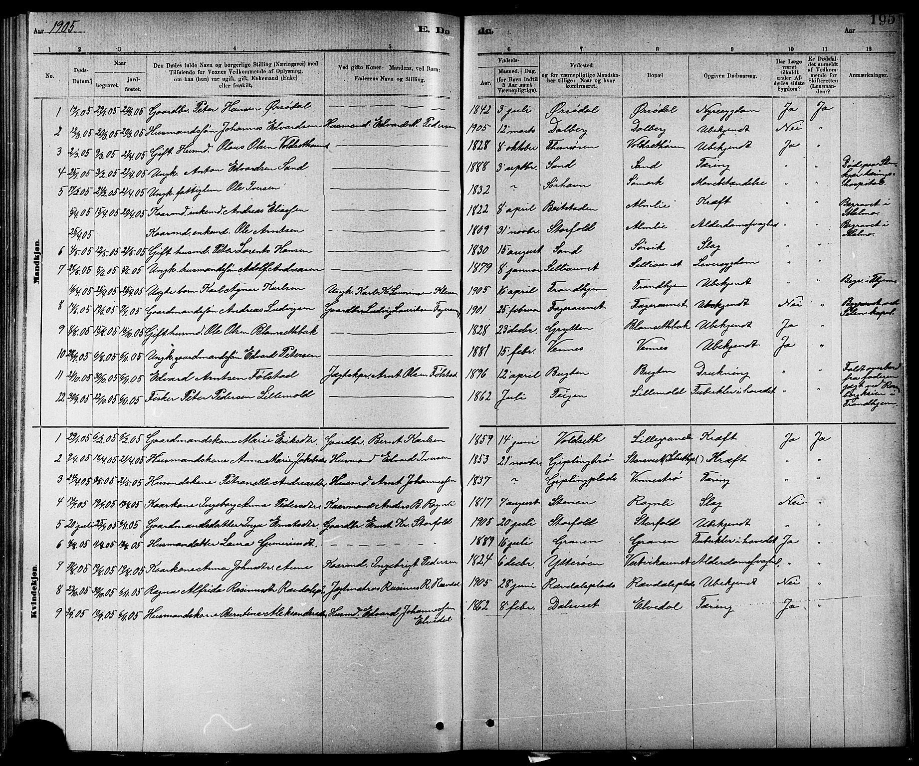 SAT, Ministerialprotokoller, klokkerbøker og fødselsregistre - Nord-Trøndelag, 744/L0423: Klokkerbok nr. 744C02, 1886-1905, s. 195