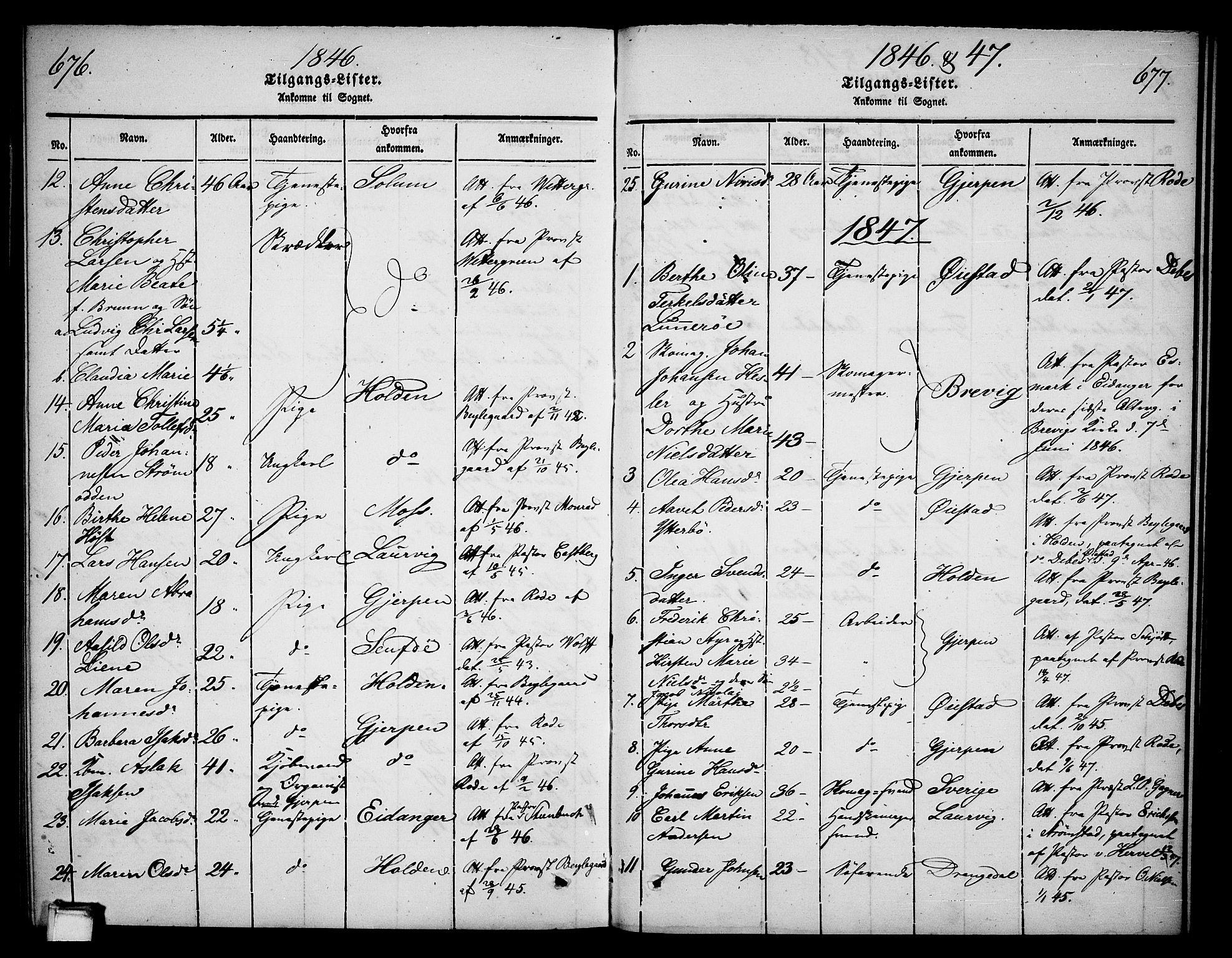 SAKO, Skien kirkebøker, G/Ga/L0003: Klokkerbok nr. 3, 1843-1847, s. 676-677