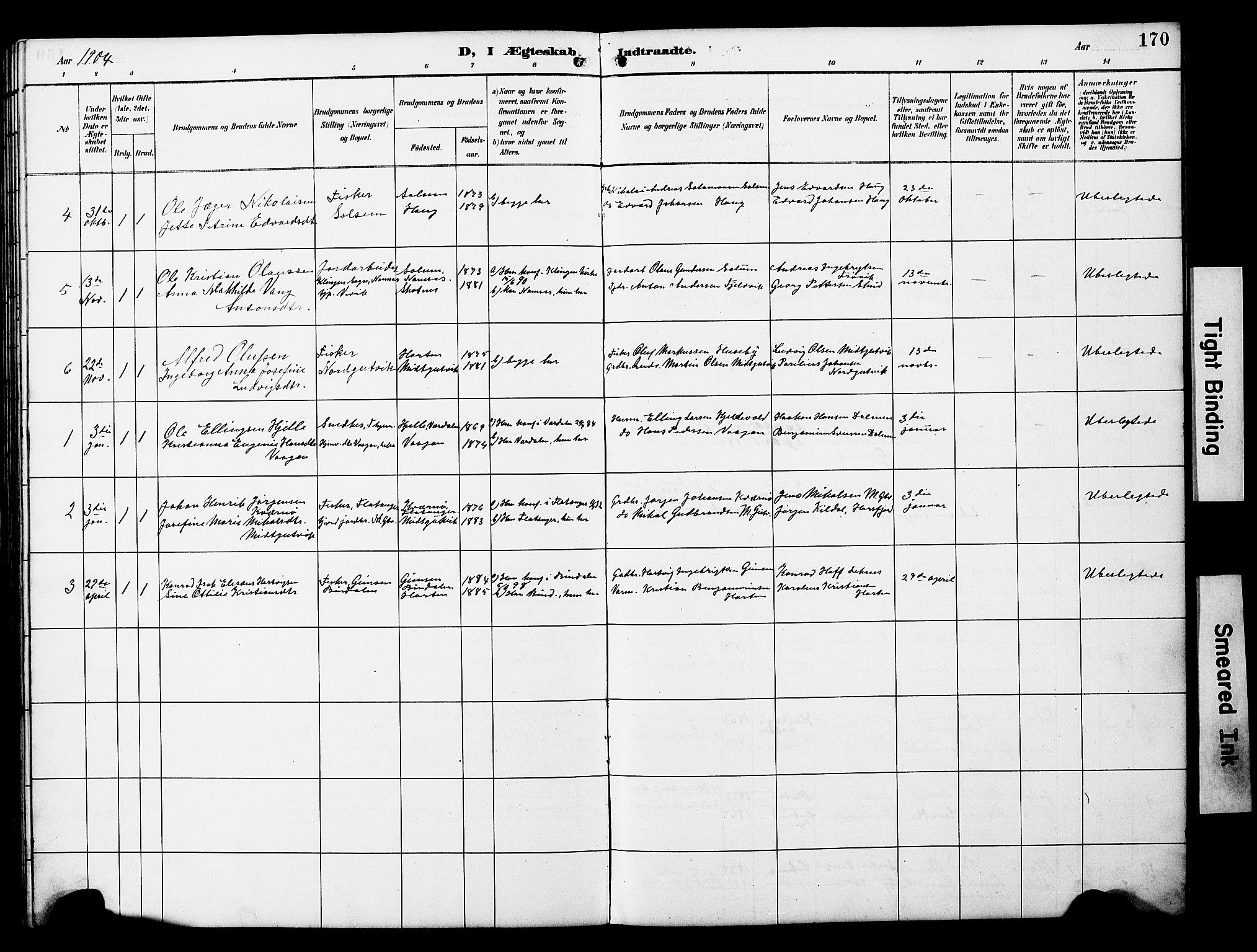 SAT, Ministerialprotokoller, klokkerbøker og fødselsregistre - Nord-Trøndelag, 788/L0701: Klokkerbok nr. 788C01, 1888-1913, s. 170