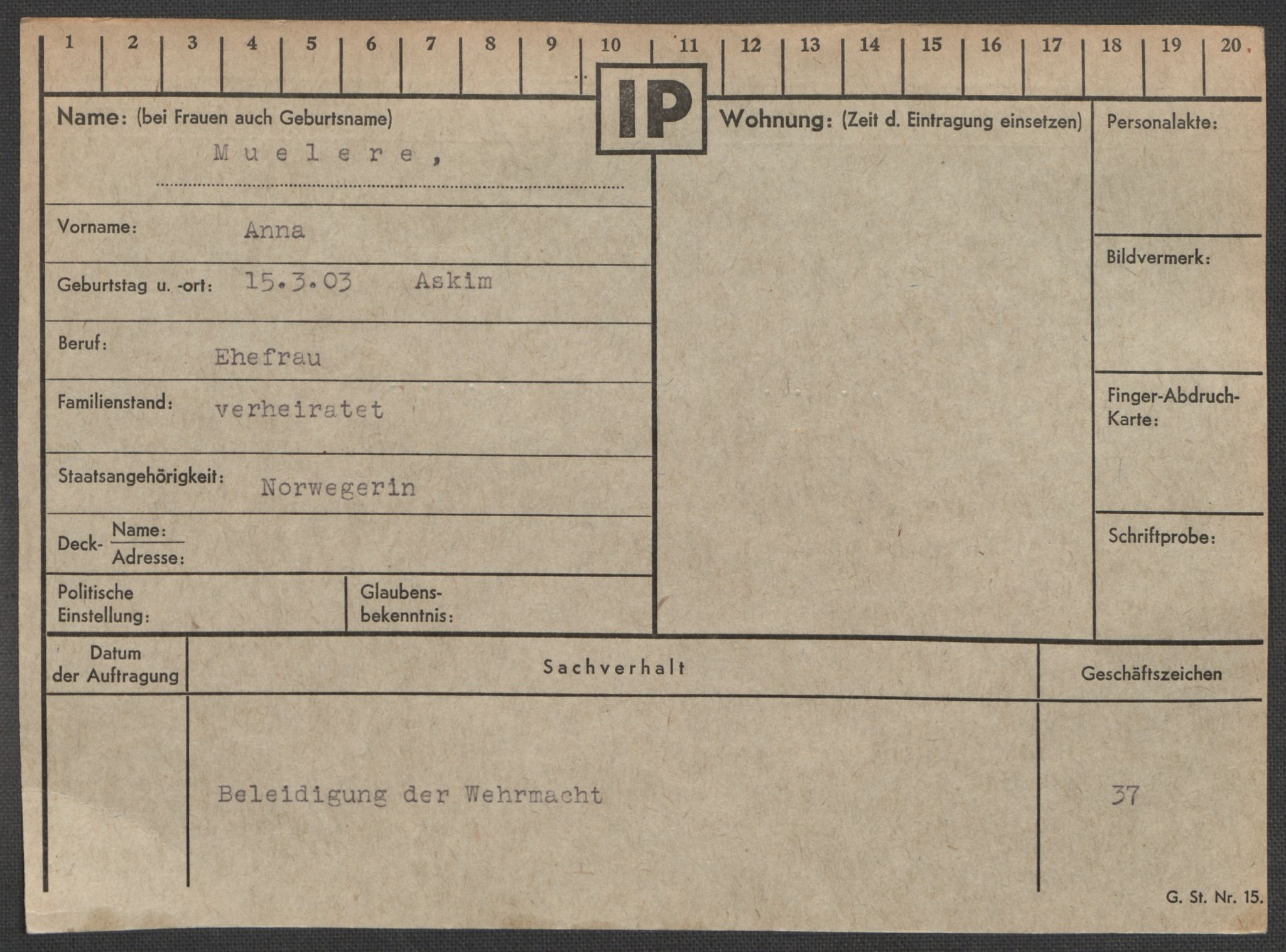 RA, Befehlshaber der Sicherheitspolizei und des SD, E/Ea/Eaa/L0007: Register over norske fanger i Møllergata 19: Lundb-N, 1940-1945, s. 846