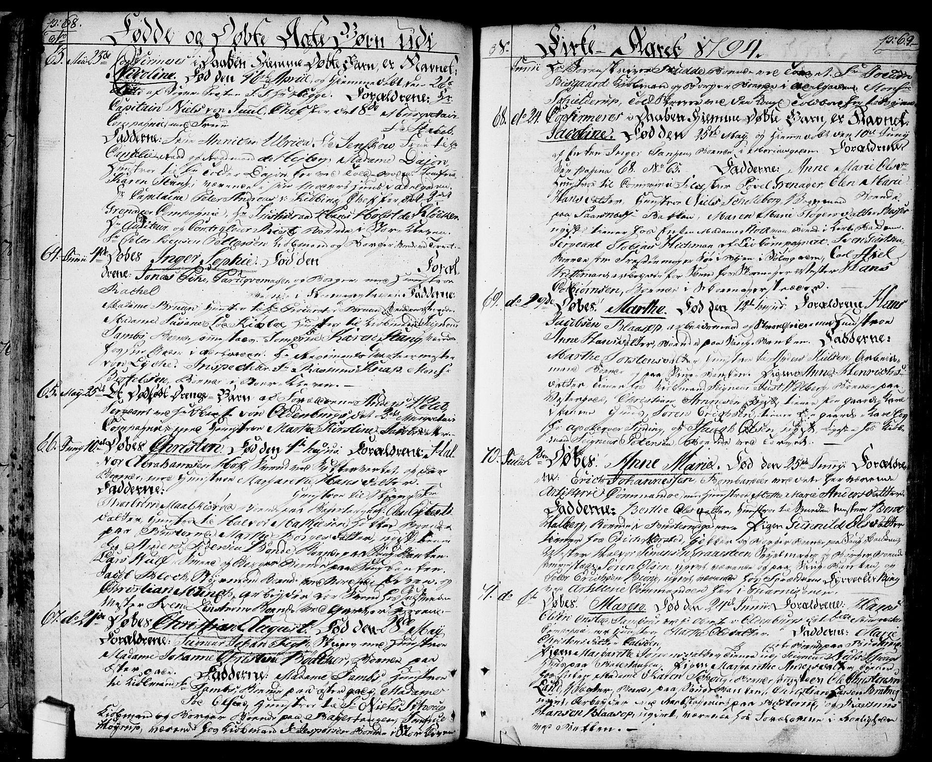 SAO, Halden prestekontor Kirkebøker, F/Fa/L0002: Ministerialbok nr. I 2, 1792-1812, s. 68-69