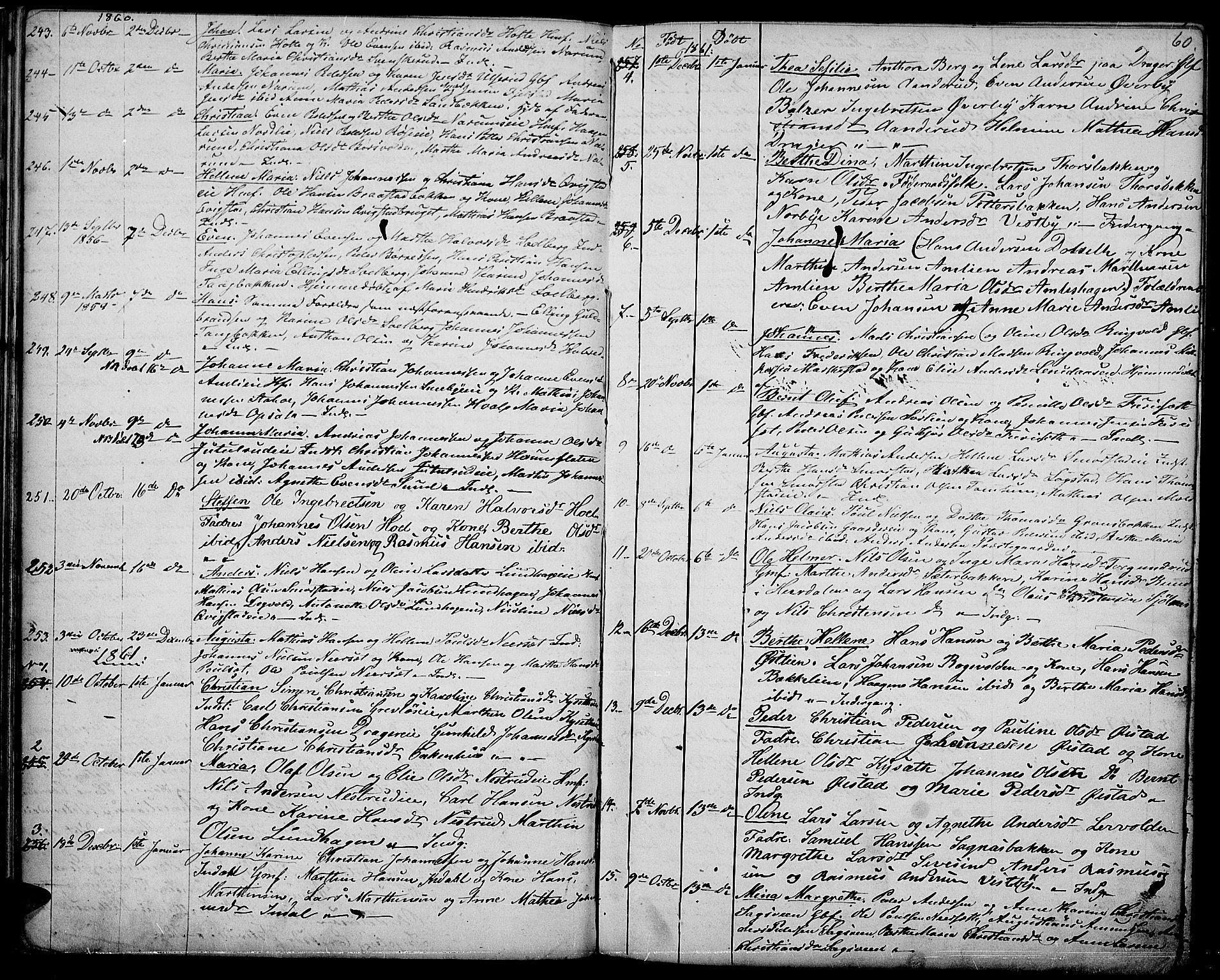 SAH, Vestre Toten prestekontor, H/Ha/Hab/L0005: Klokkerbok nr. 5, 1854-1870, s. 60