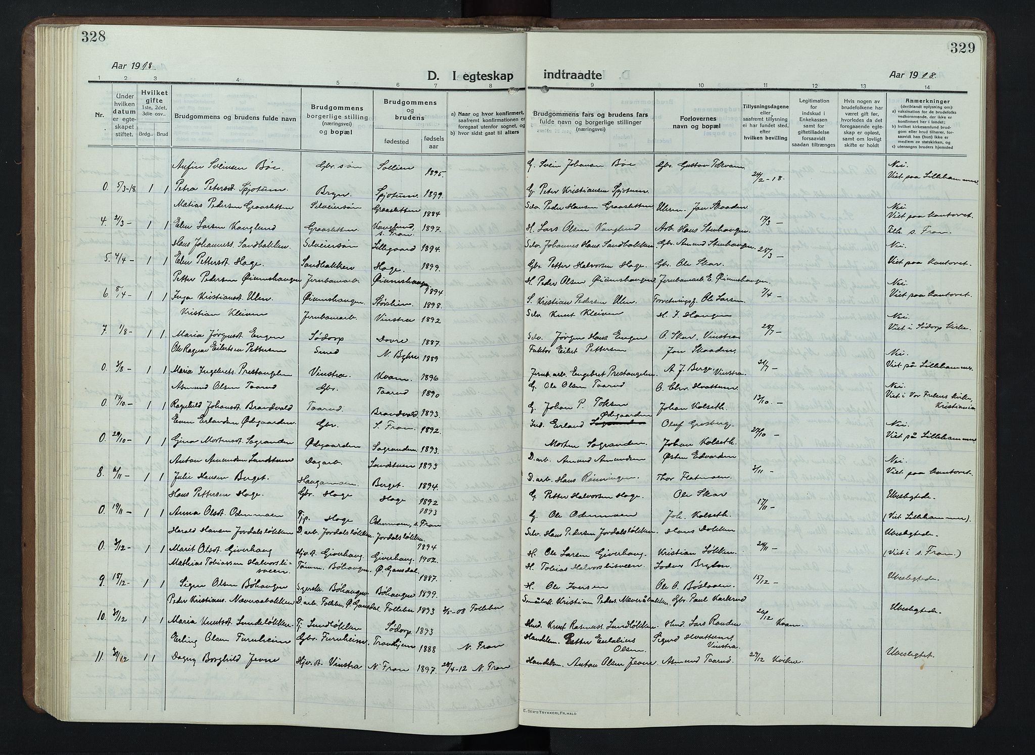 SAH, Nord-Fron prestekontor, Klokkerbok nr. 7, 1915-1946, s. 328-329