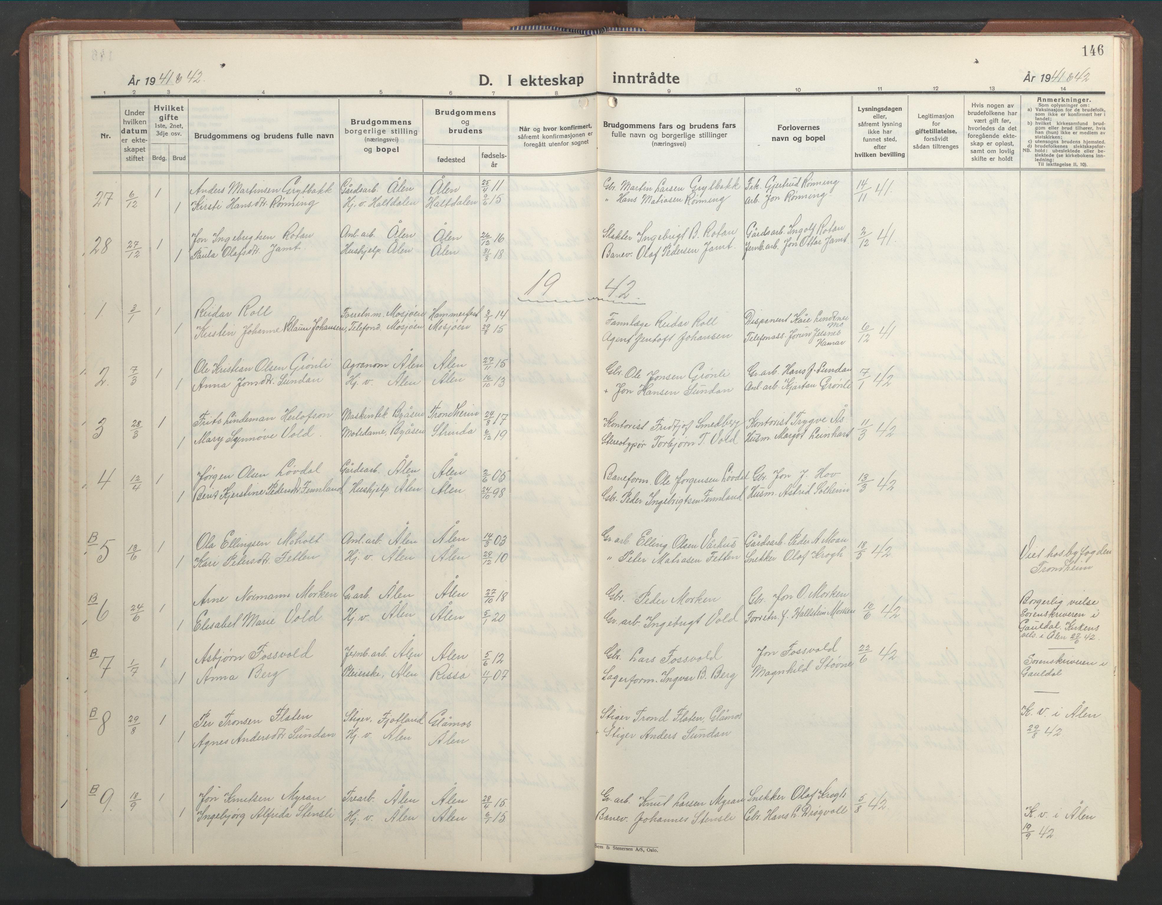 SAT, Ministerialprotokoller, klokkerbøker og fødselsregistre - Sør-Trøndelag, 686/L0986: Klokkerbok nr. 686C02, 1933-1950, s. 146