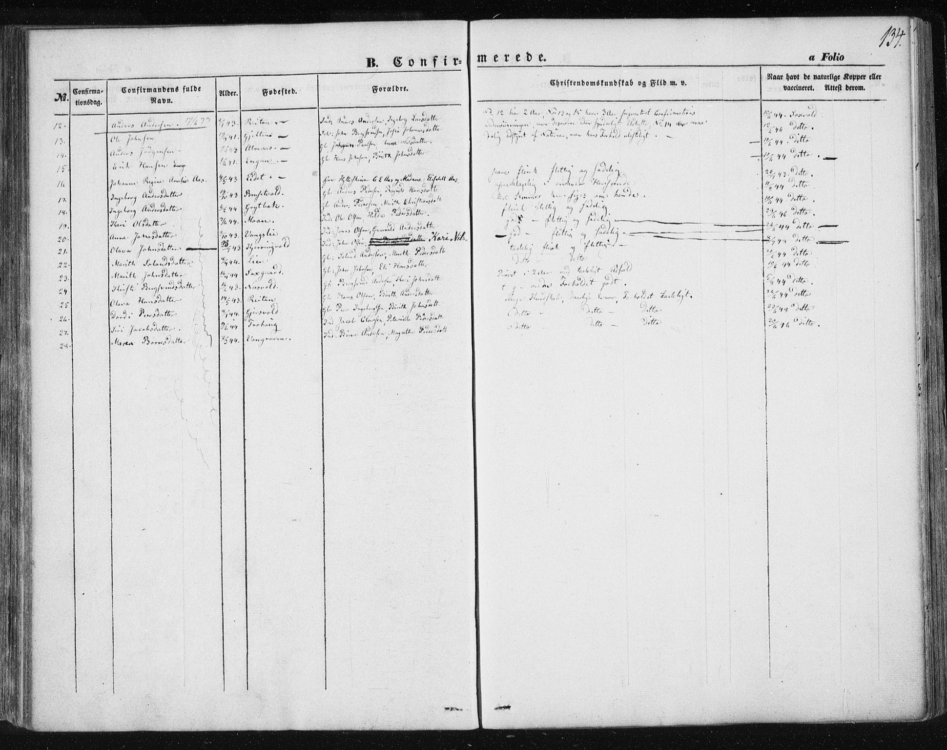 SAT, Ministerialprotokoller, klokkerbøker og fødselsregistre - Sør-Trøndelag, 685/L0965: Ministerialbok nr. 685A06 /3, 1846-1859, s. 134
