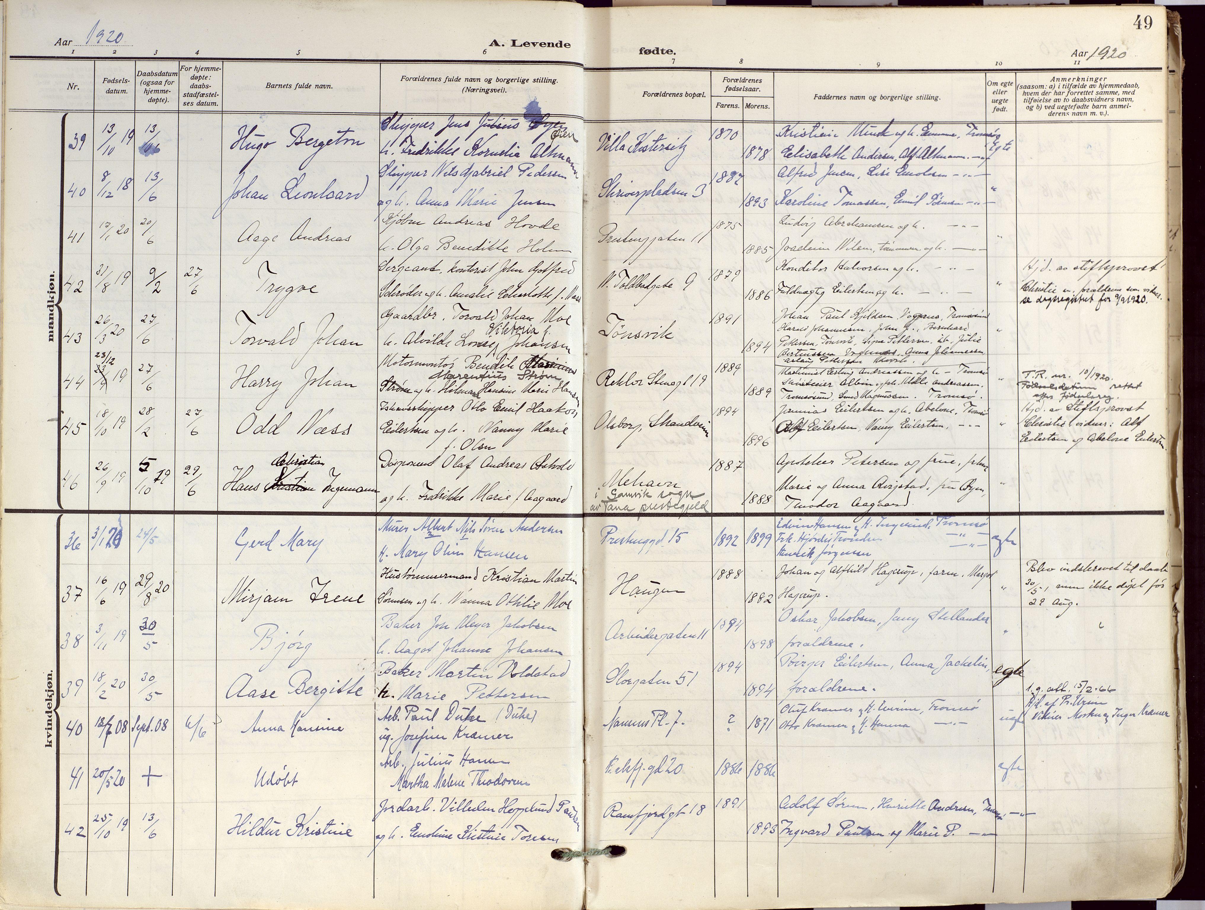 SATØ, Tromsø sokneprestkontor/stiftsprosti/domprosti, G/Ga/L0019kirke: Ministerialbok nr. 19, 1917-1927, s. 49