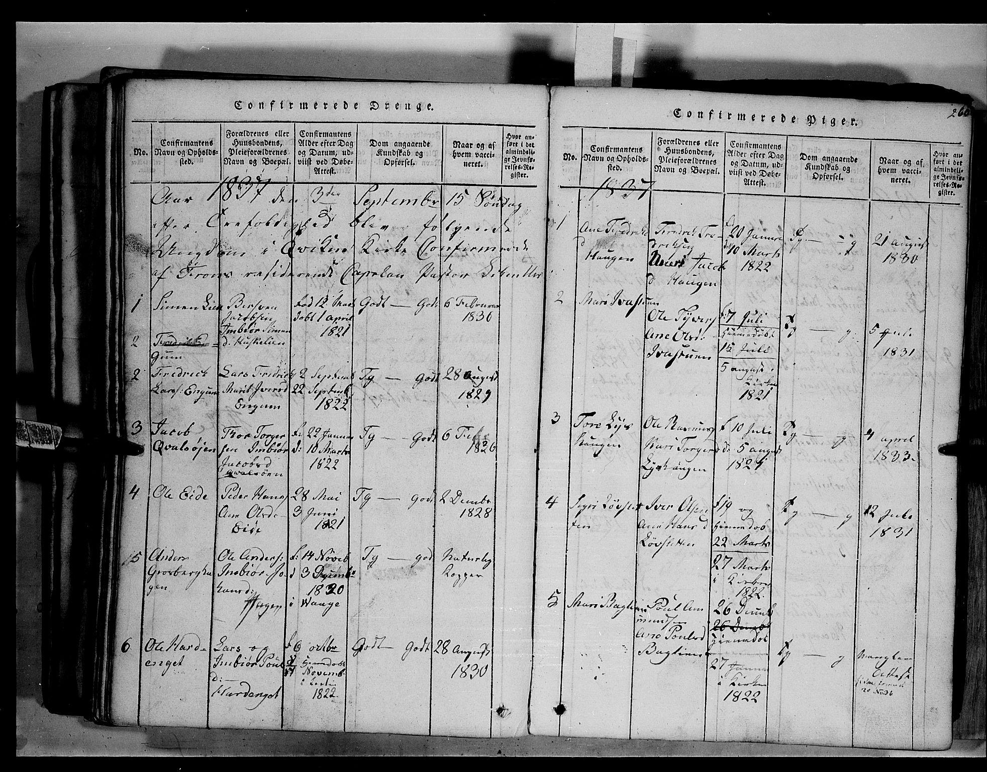 SAH, Fron prestekontor, H/Ha/Hab/L0003: Klokkerbok nr. 3, 1816-1850, s. 260